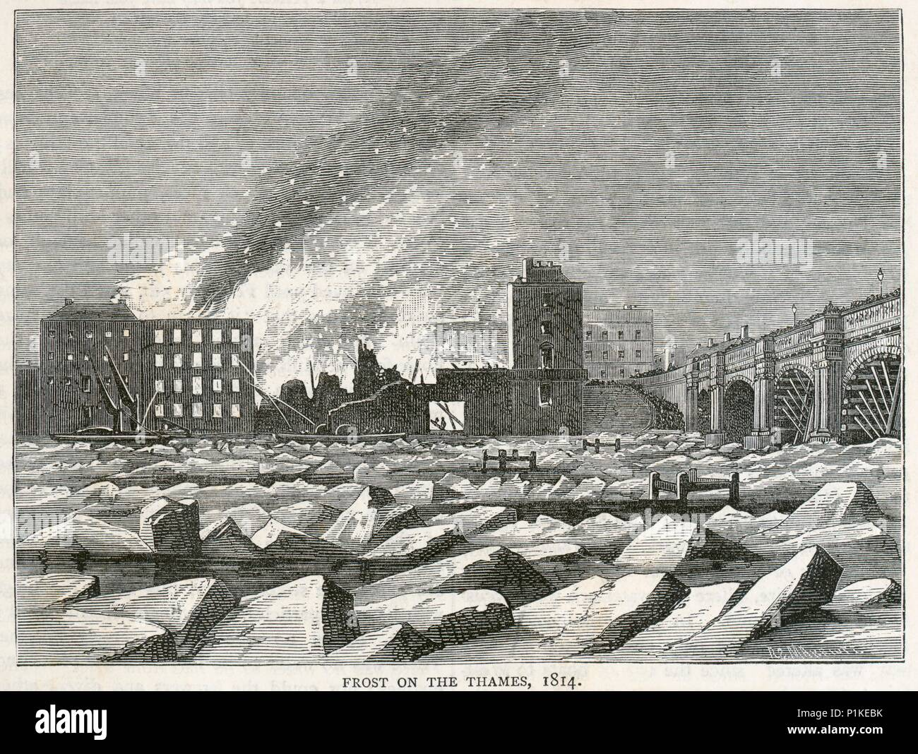 Frost on the River Thames, London, 1814. View showing a fire at Albion Place. From the Mayson Beeton Collection. - Stock Image