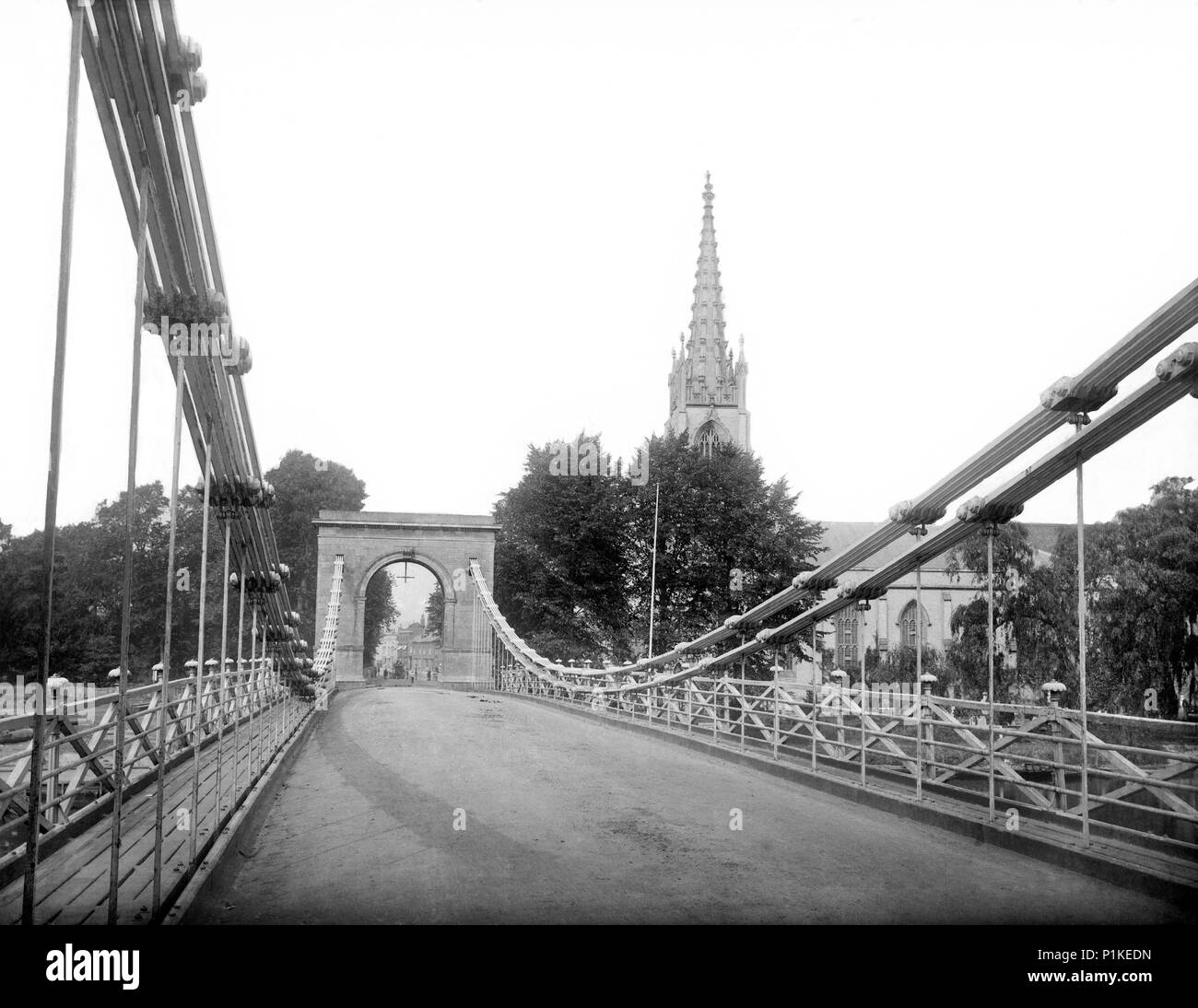 Marlow Bridge, Buckinghamshire, c1860-c1922. Looking along the suspension bridge over the River Thames, which was designed by William Tierney Clark an - Stock Image