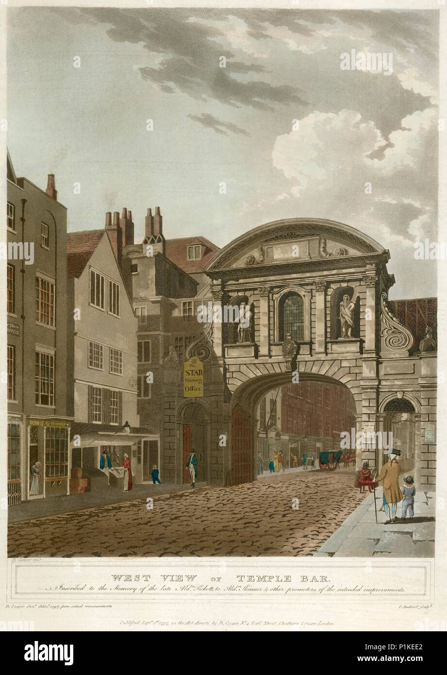 Temple Bar, London, 1797. 'West View of Temple Bar'. This incarnation of Temple Bar (the gate between the Cities of London and Westminster) was constr - Stock Image