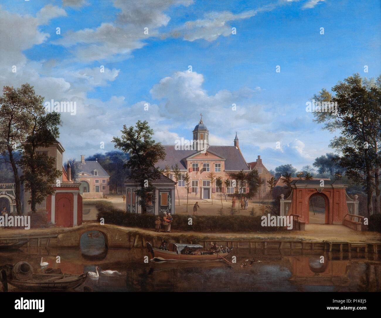 'The Chateau of Goudestein, on the River Vecht, near Maarsen', c1674. Painting in Apsley House, London. - Stock Image