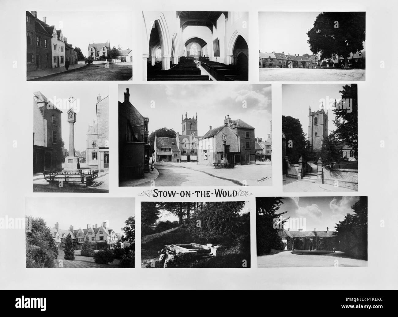 Stow-on-the-Wold, Gloucestershire, 1890. A composite of nine views of the town with the market place and medieval cross at the centre. All images were - Stock Image