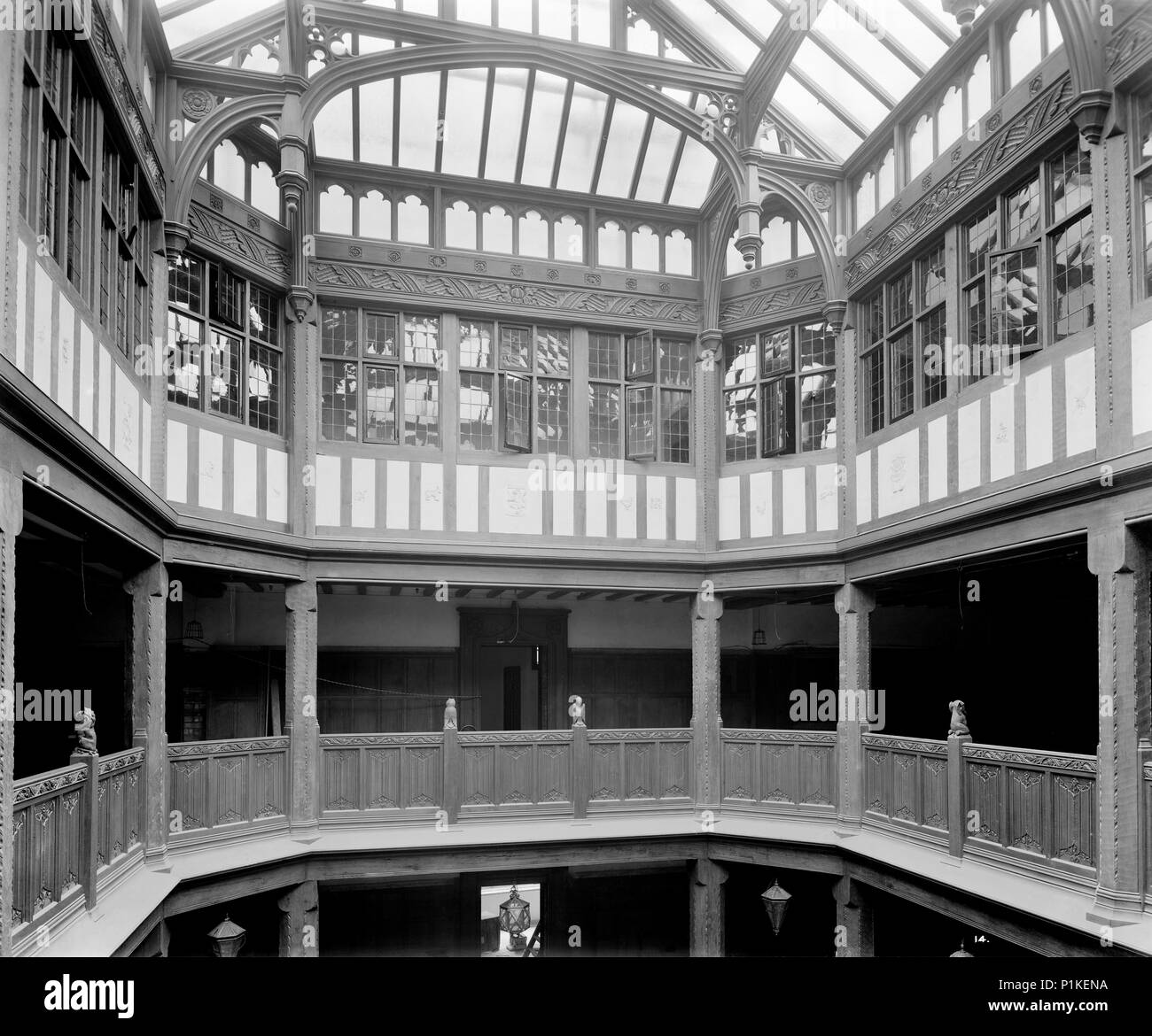 Liberty and Co department store, Regent Street, London, 1924. Interior of Liberty's newly completed Arts and Crafts Tudor style department store, show - Stock Image