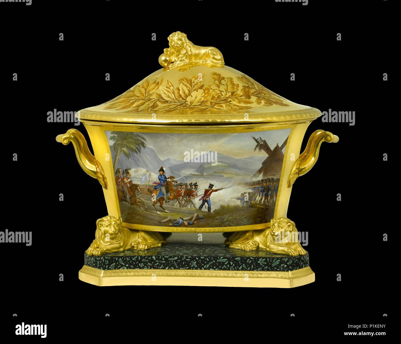 Soup tureen depicting the Battle of Rolica, Portugal, 1808 (1817-1819). Item in Apsley House, London, from the Duke of Wellington's Prussian Service,  - Stock Image