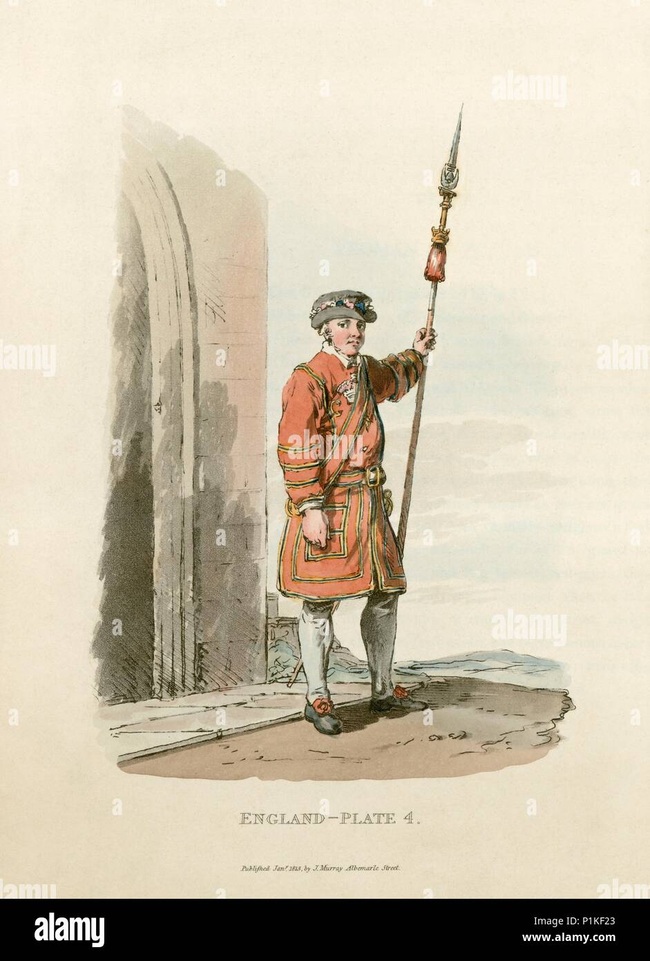 Yeoman of the Guard, St James' Palace, Westminster, London, 1813. A  Yeoman of the Guard on duty. These royal bodyguards retain their Tudor-style dres - Stock Image