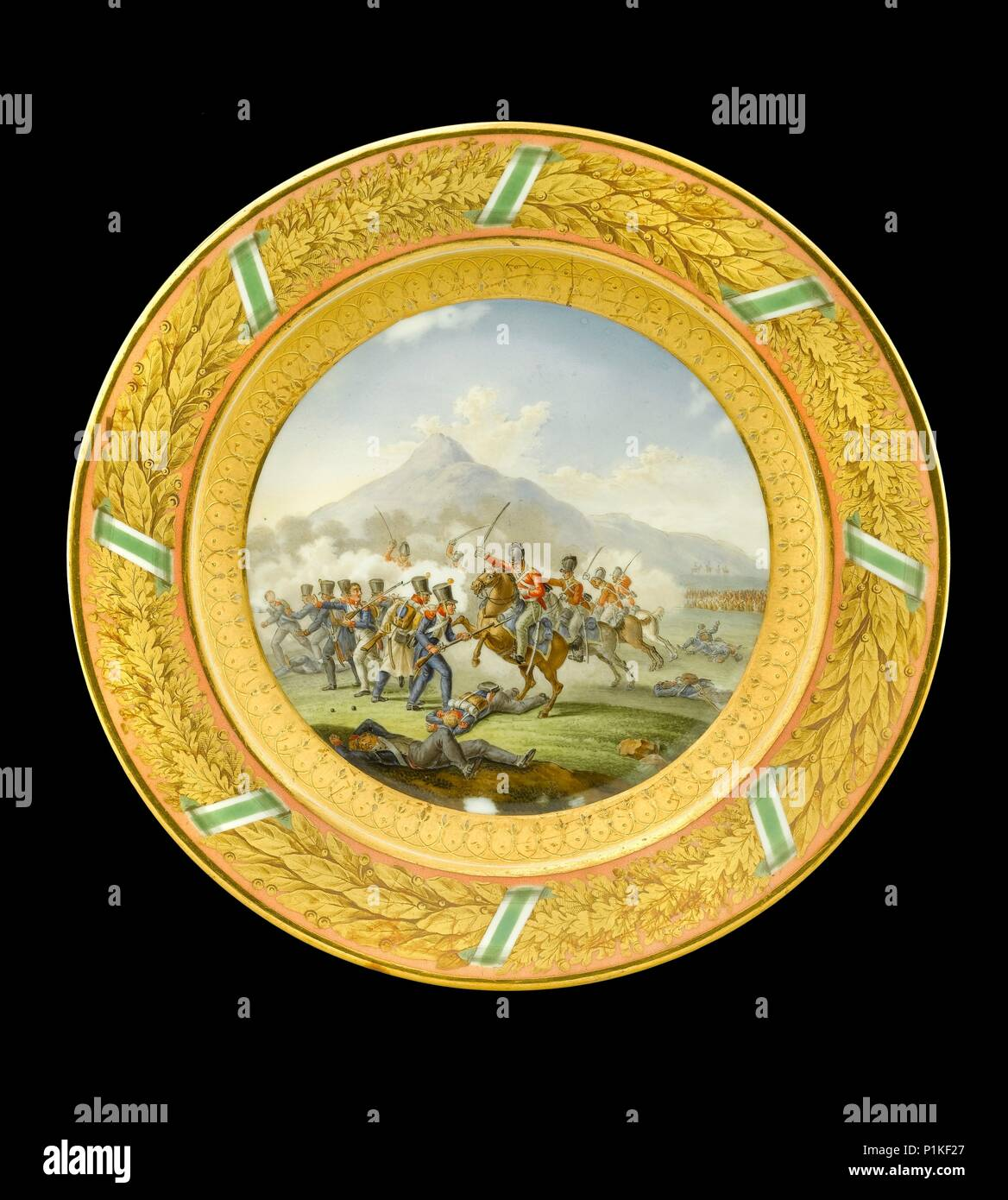 Dessert plate depicting the Battle of Talavera, Spain, 1809 (1818). Item in Apsley House, London. Dessert plate from the Duke of Wellington's Saxon Se - Stock Image