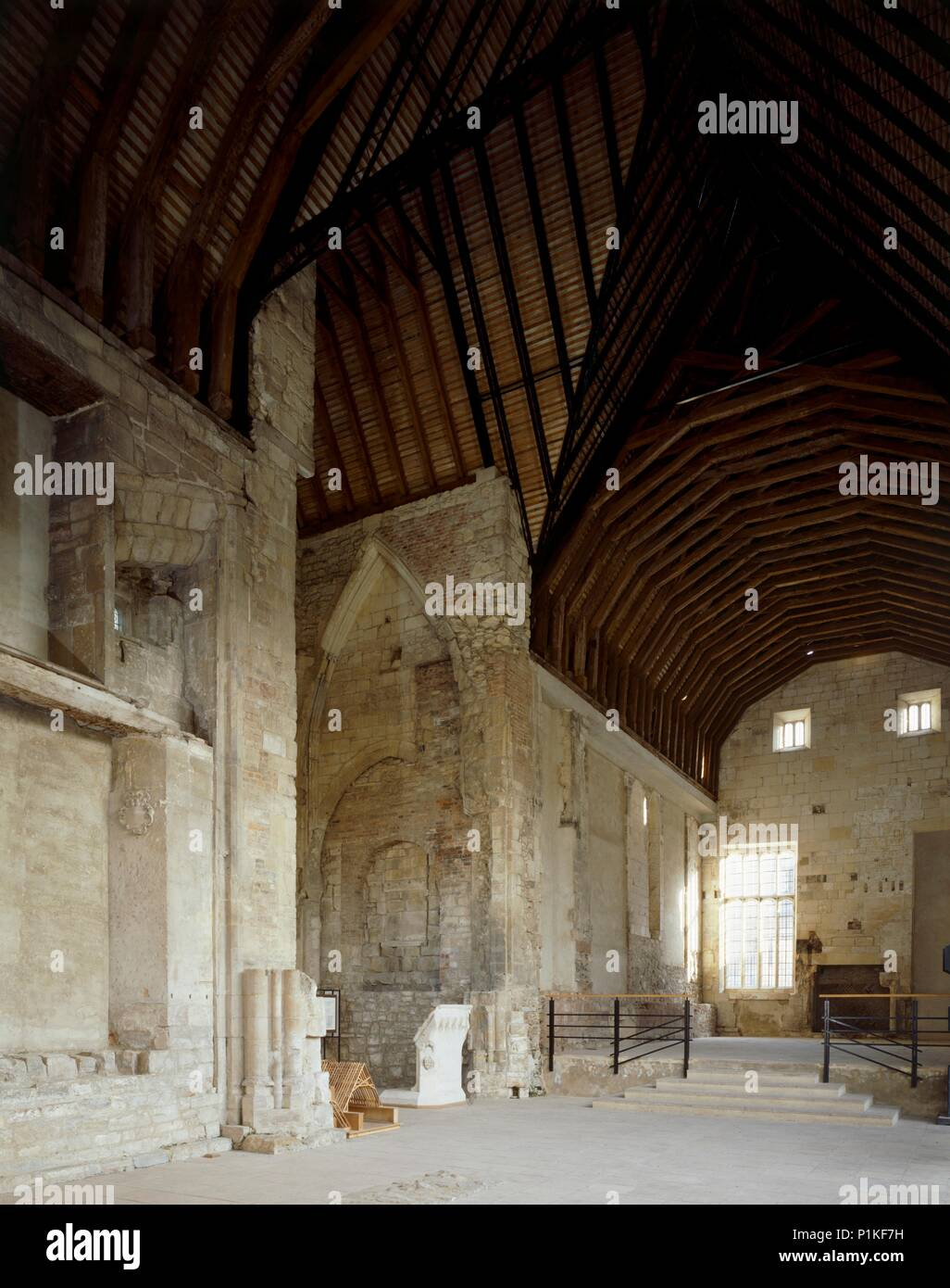 Blackfriars, Gloucester, Gloucestershire, c1989-c2007. Interior view of the nave of the 13th century church of the Dominican priory looking east. - Stock Image