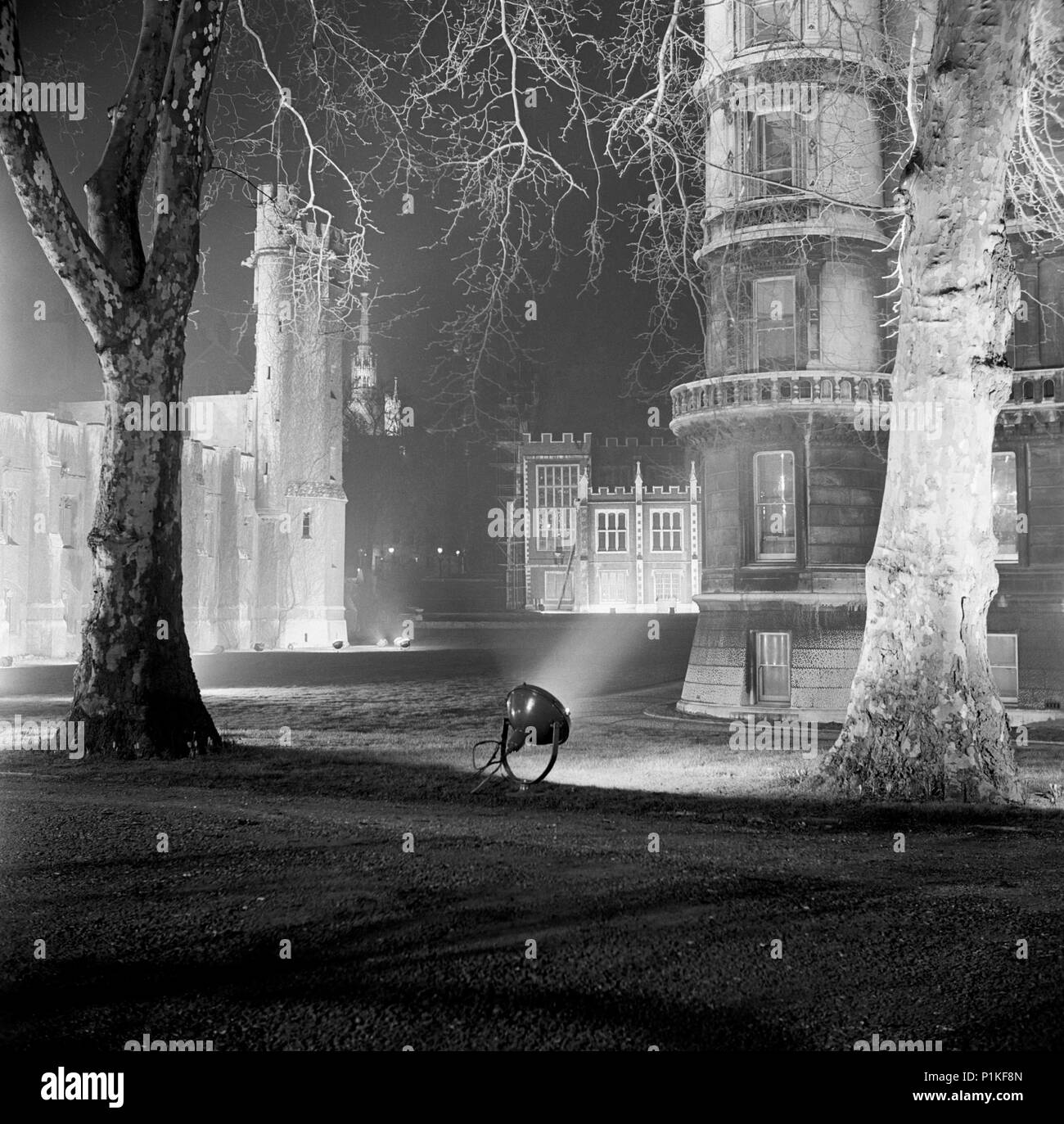 Temple Gardens, City of London, c1945-c1980. View of the gardens at night. - Stock Image