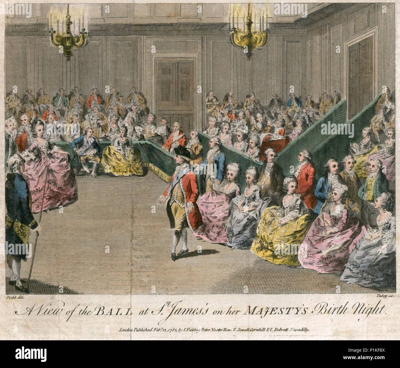 'A view of the Ball at St James's on her Majesty's birth night', 1782. Ball at St James's Palace, London, on the night of the birthday of Queen Charlo - Stock Image