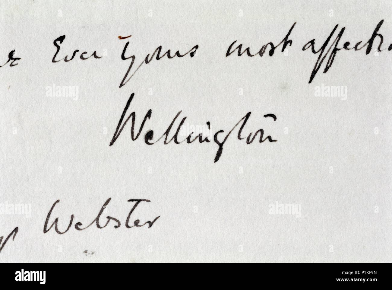 Signature wrongly attributed to the Duke of Wellington, Walmer Castle, Kent. - Stock Image