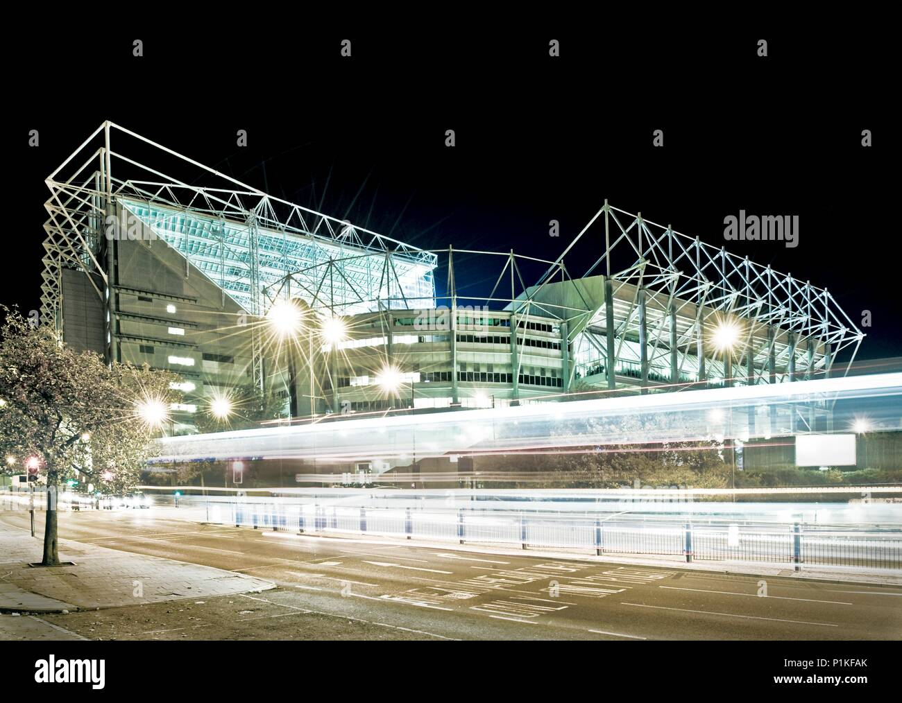 St. James's Park, Newcastle-upon-Tyne, c1998-c2017. View of the home of Newcastle United Football Club at night. The stark lighting helps the stadium  - Stock Image