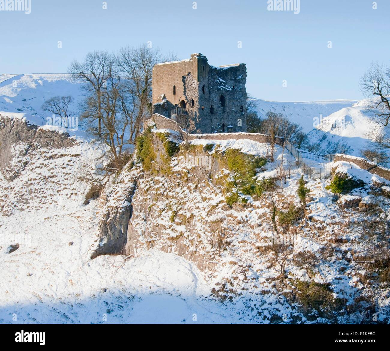 Peveril Castle, Derbyshire, c2000-c2017. View of the castle in the snow. - Stock Image