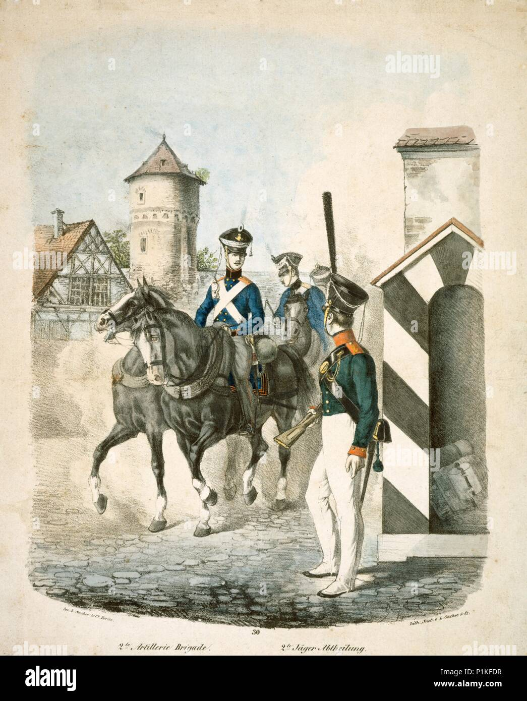 Prussian soldiers, early 19th century. Engraving of Prussian soldiers of the Napoleonic Wars produced in Berlin. Foot Artillery drivers (2 Artillerie  - Stock Image