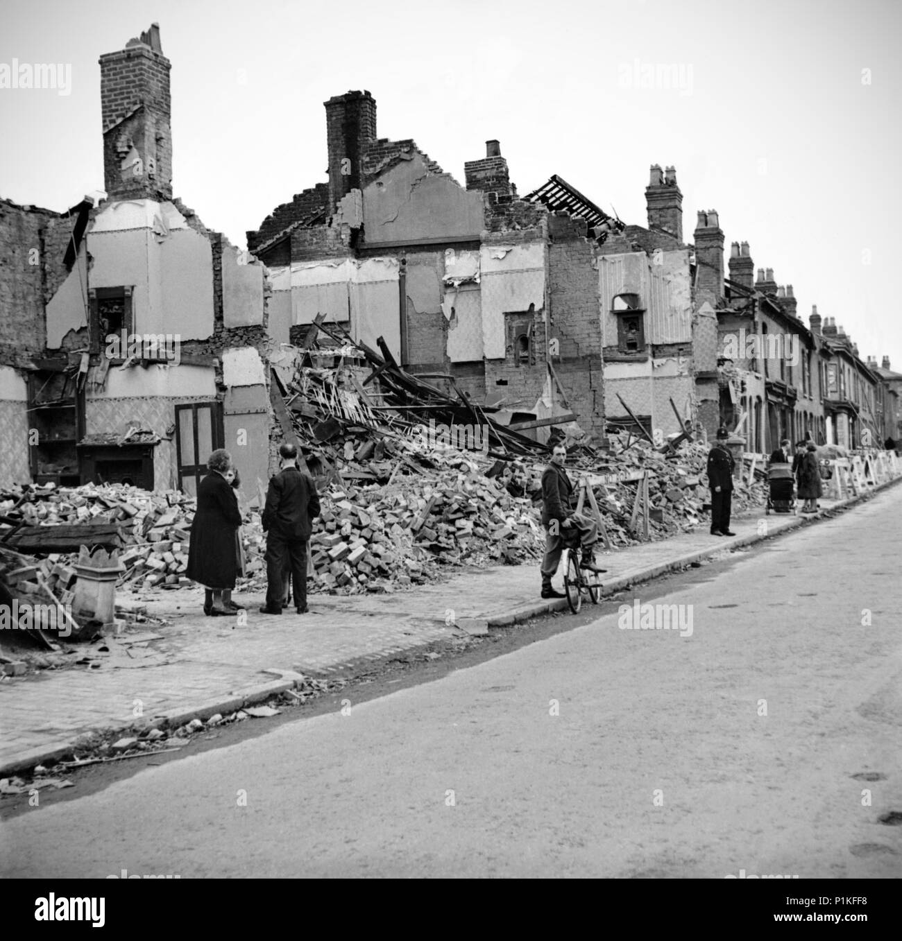 Wartime bomb damage, Highgate Road, Sparkbrook, Birmingham, West Midlands, 29 July 1942. - Stock Image