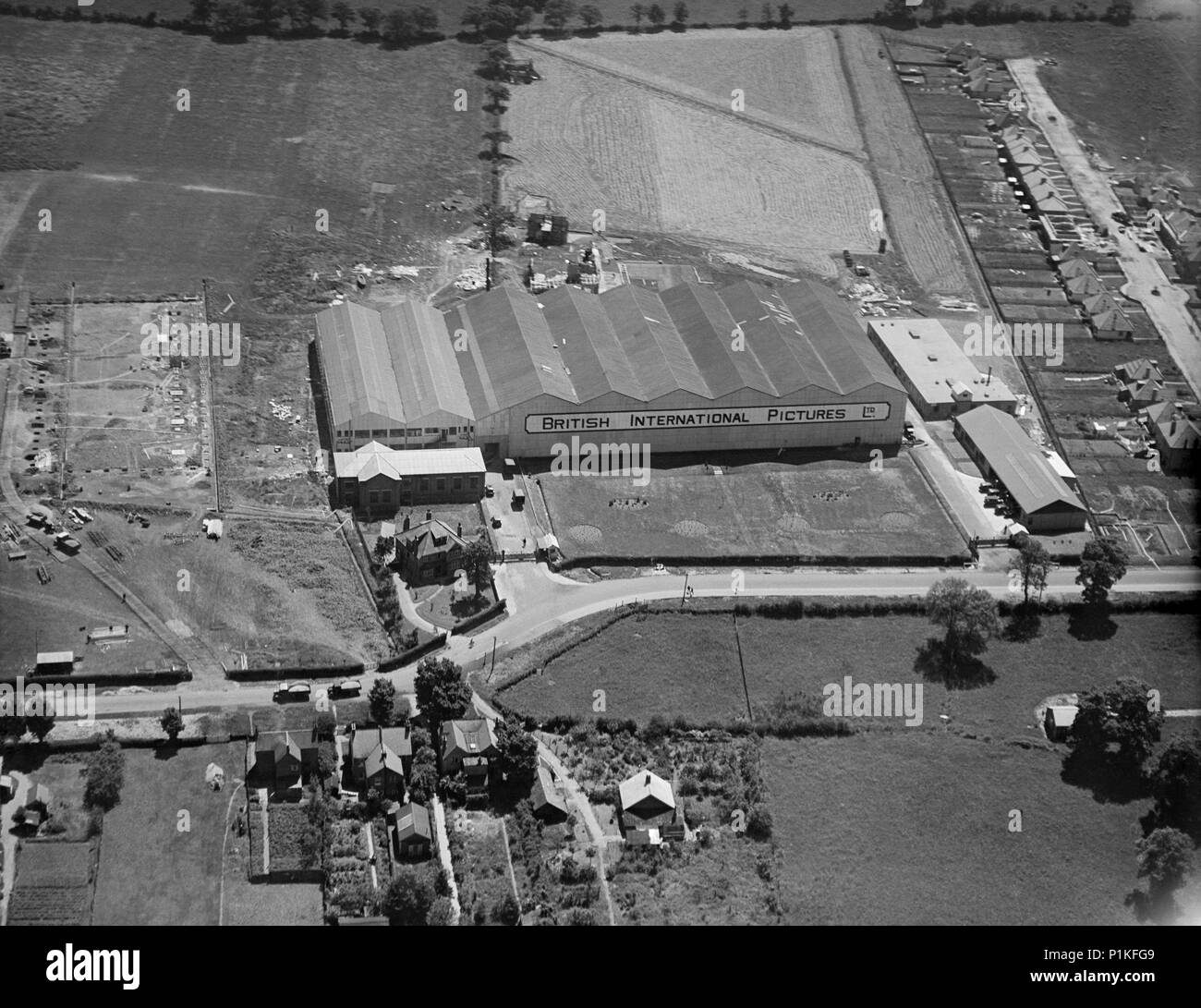 Elstree Studios, Shenley Road, Borehamwood, Hertfordshire, 1928. Aerial view of the premises of British International Pictures Ltd. - Stock Image