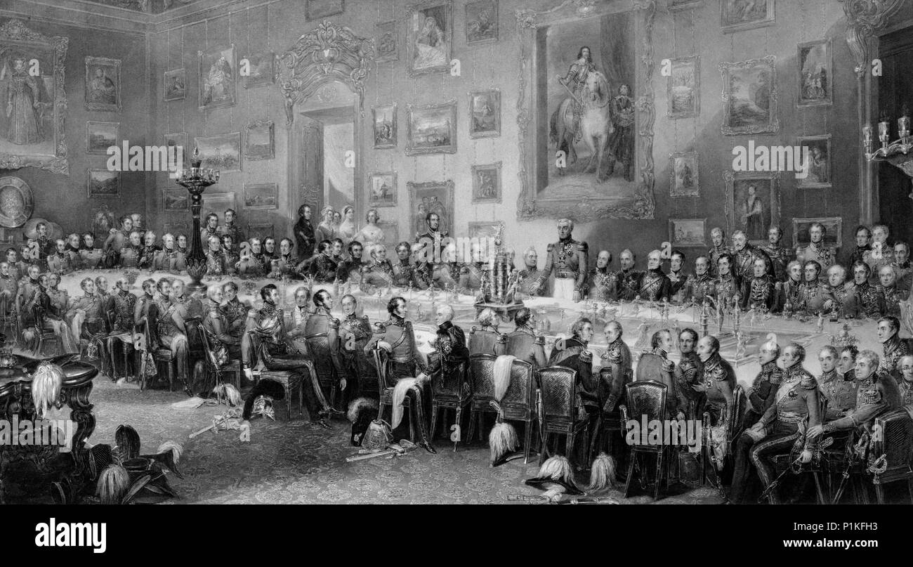 'The Banquet after the Battle of Waterloo', c1846. View depicting the banquet held at Apsley House, the Duke of Wellington's London home, on 18 June 1 - Stock Image