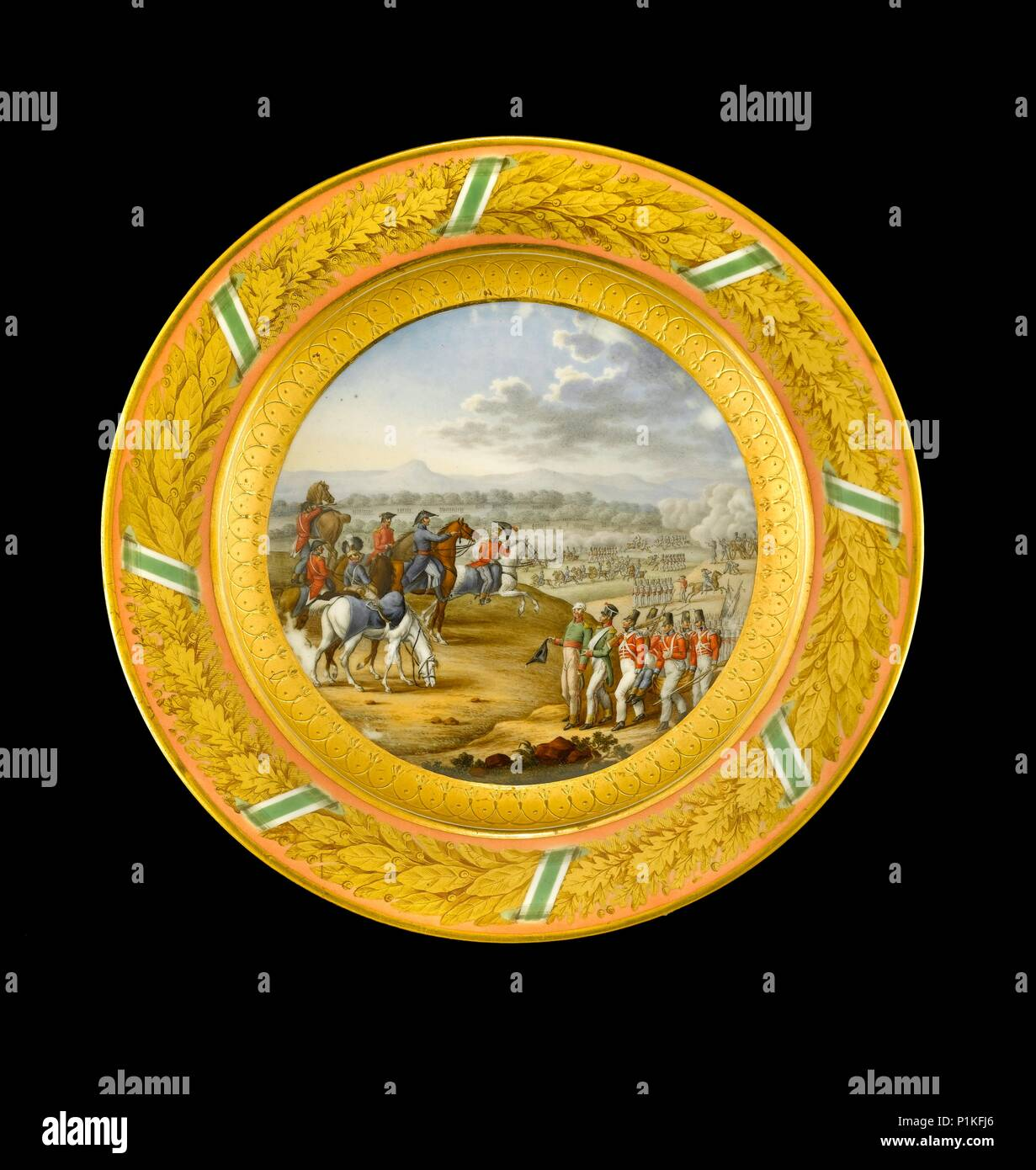 Dessert plate depicting the Battle of Fuentes d'Onoro, 1811 (1818). Item in Apsley House, London. Dessert plate from the Duke of Wellington's Saxon Se - Stock Image