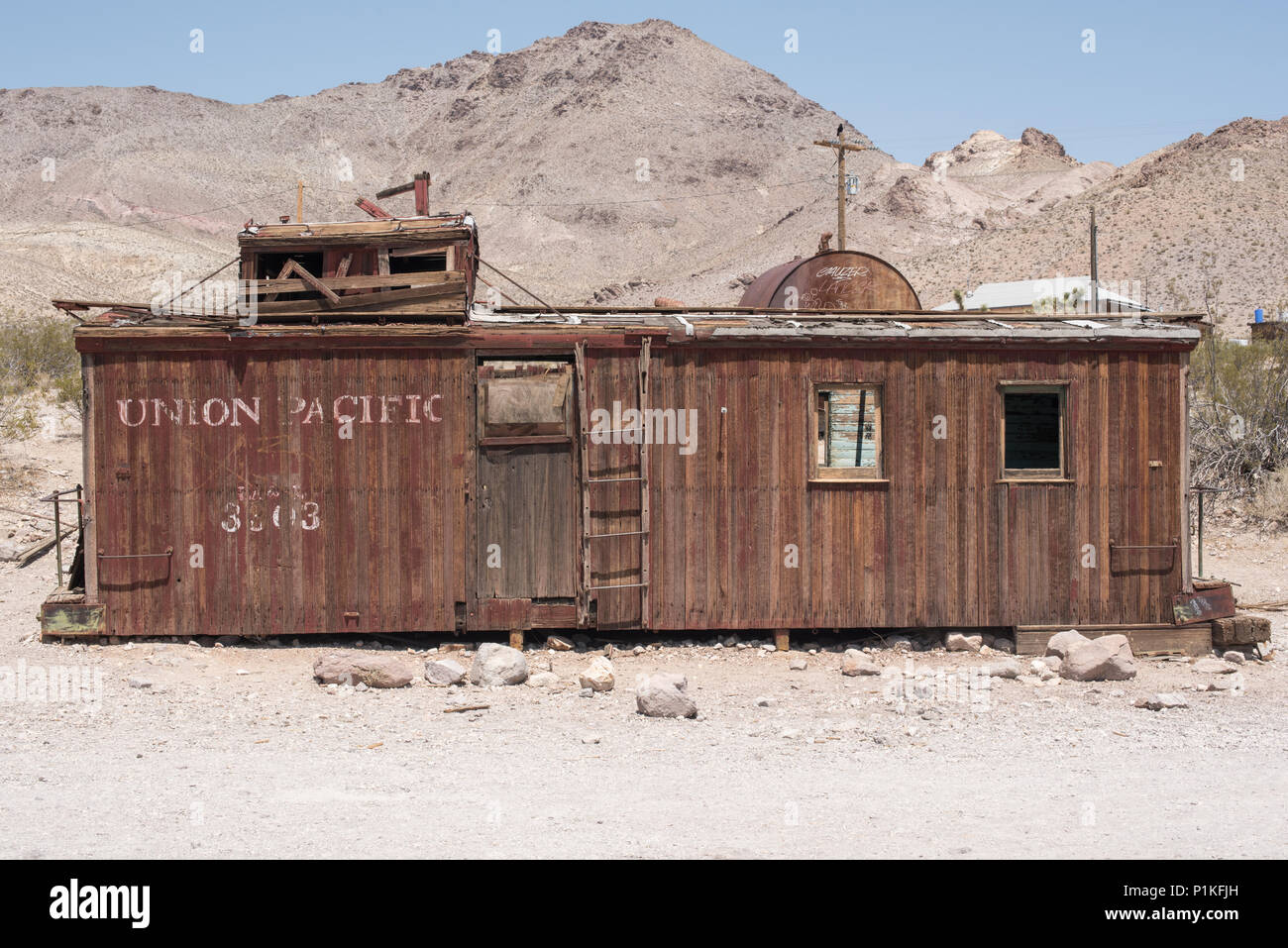 Ghost town of Rhyolite in Nevada, NV, USA - Stock Image