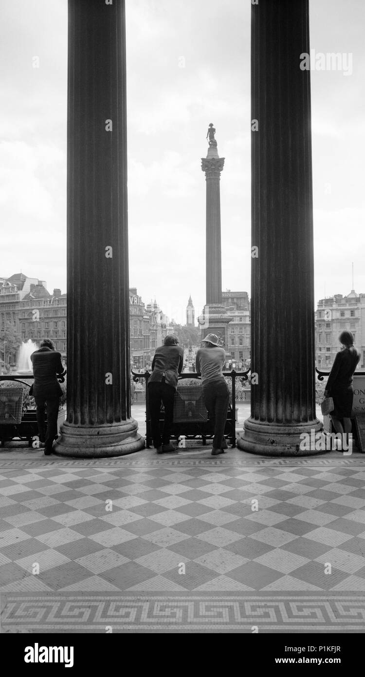 Trafalgar Square, Westminster, London, c1945-c1980. Trafalgar Square and Nelson's Column seen from the portico of the National Gallery. The 'Big Ben'  - Stock Image