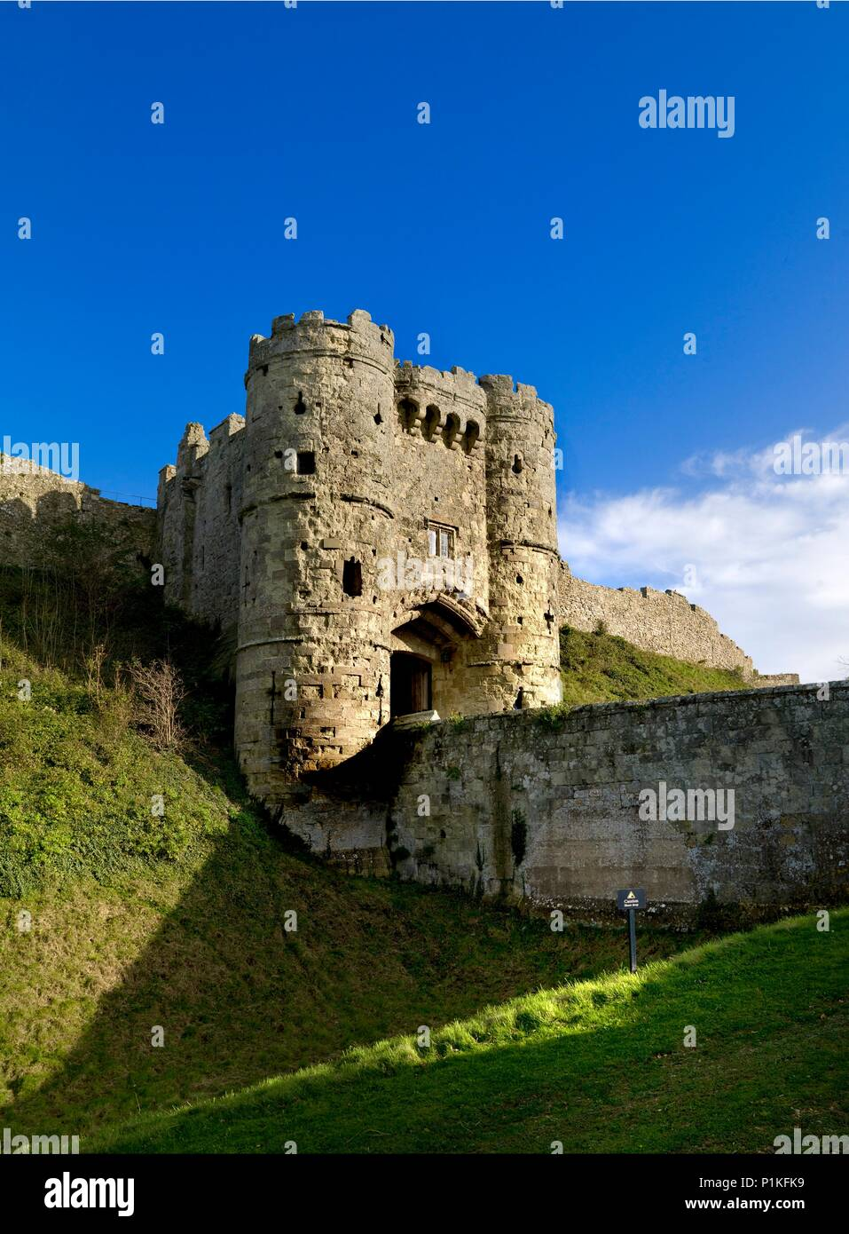 Gatehouse of Carisbrooke Castle, Isle of Wight, c1980-c2017. King Charles I was imprisoned in the castle for fourteen months before his trial and exec - Stock Image