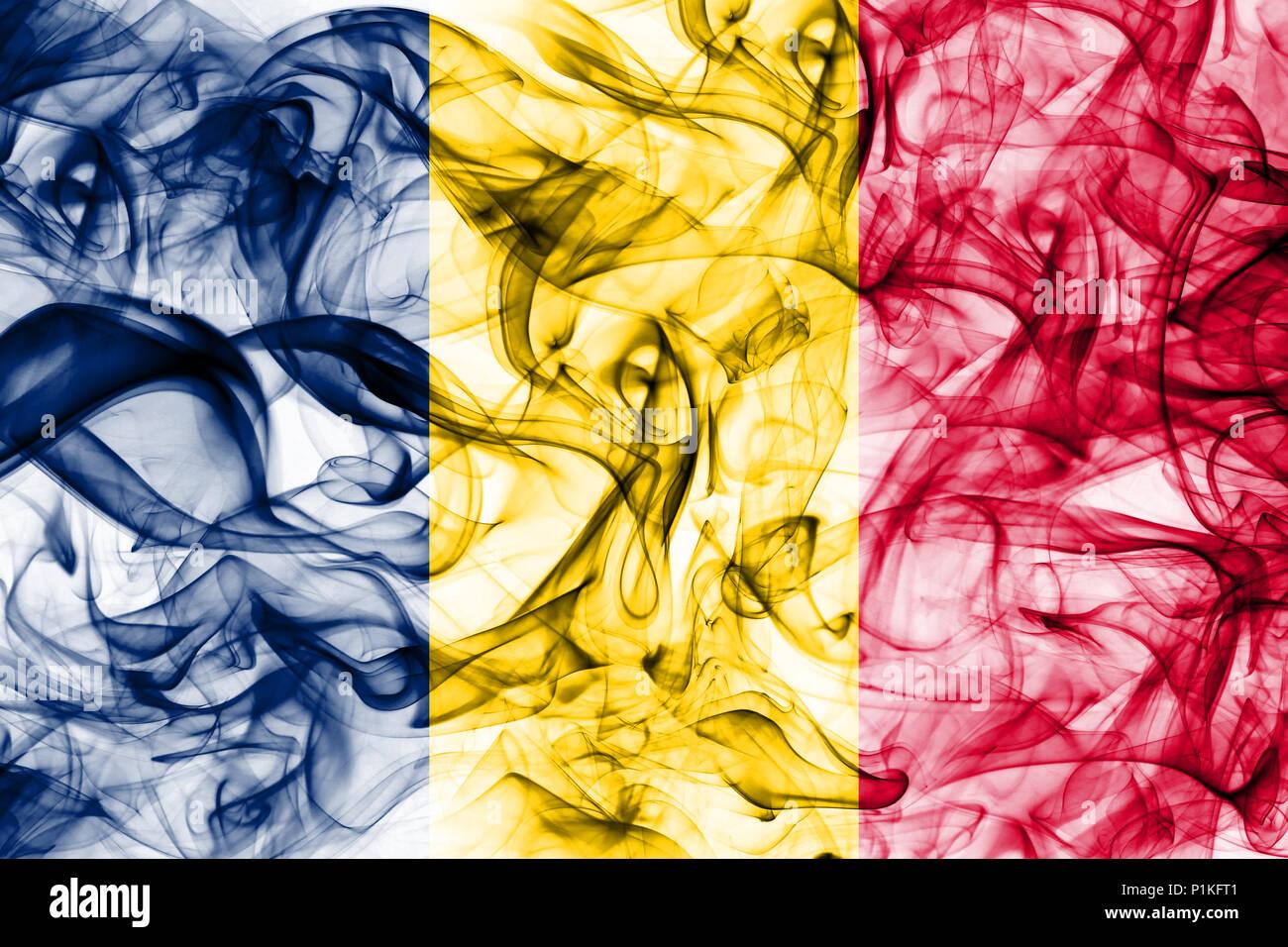 Chad smoke flag - Stock Image