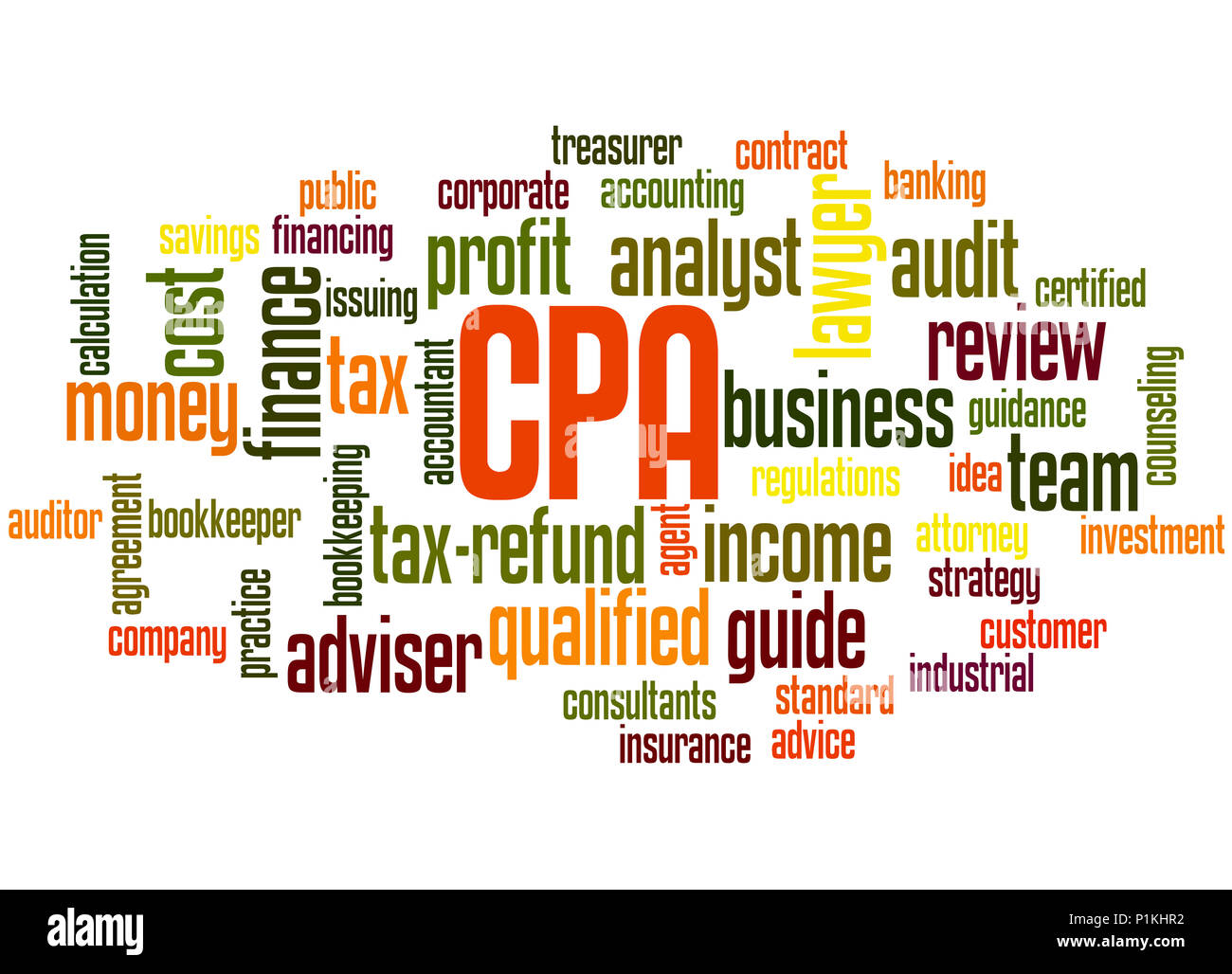 CPA - Certified Public Accountant, word cloud concept on white background. - Stock Image