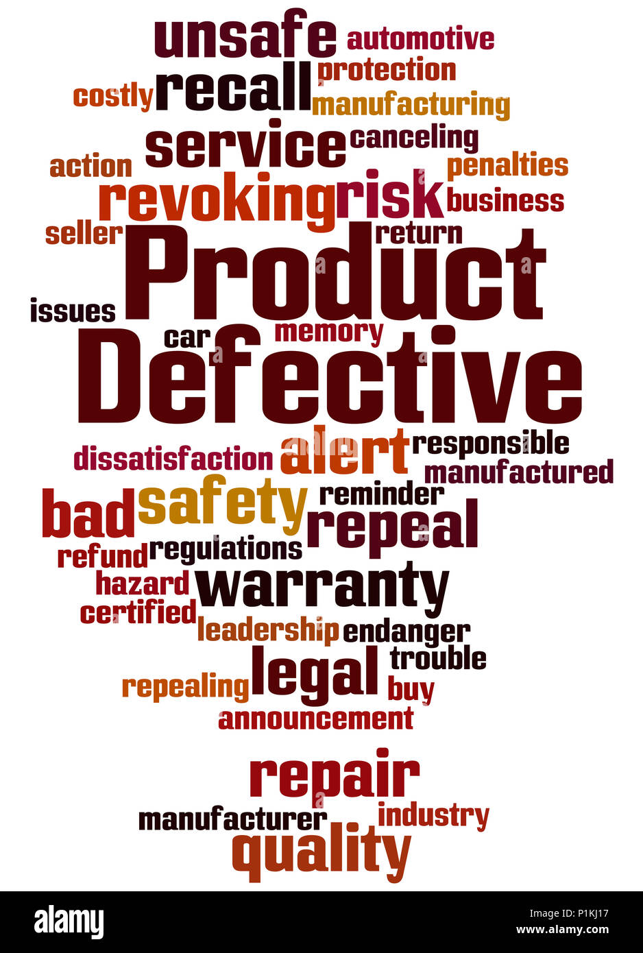 Defective Product, word cloud concept on white background. - Stock Image