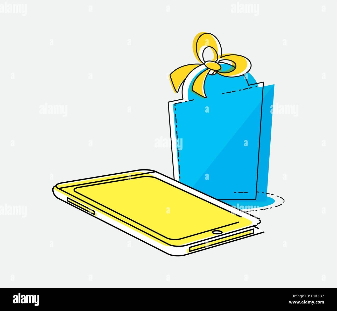 2ec39dd4062 online shopping with smartphone pop art style vector illustration design