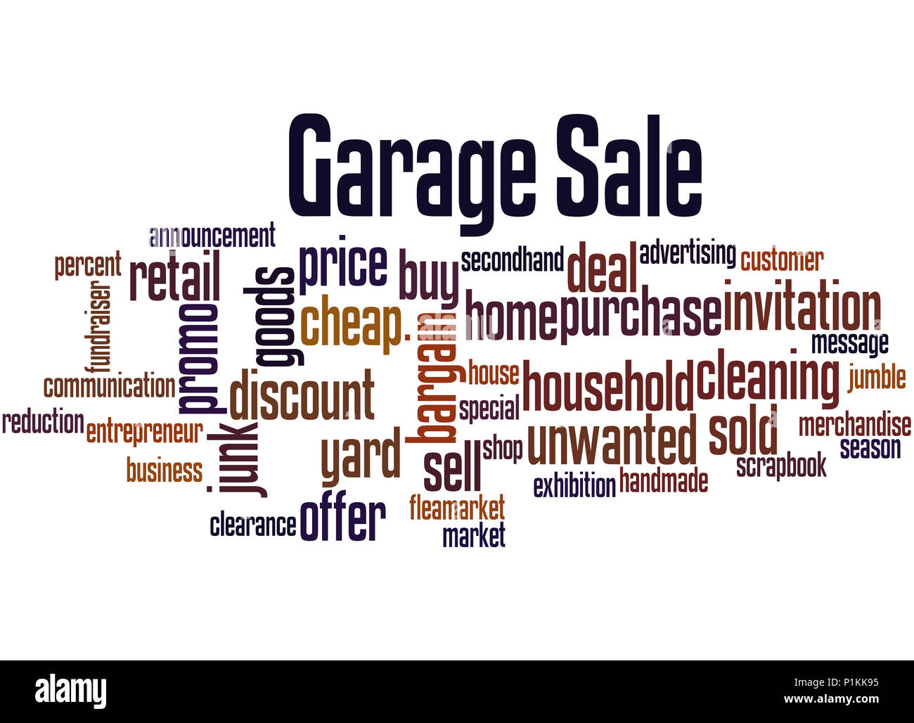 Garage Sale, word cloud concept on white background. Stock Photo