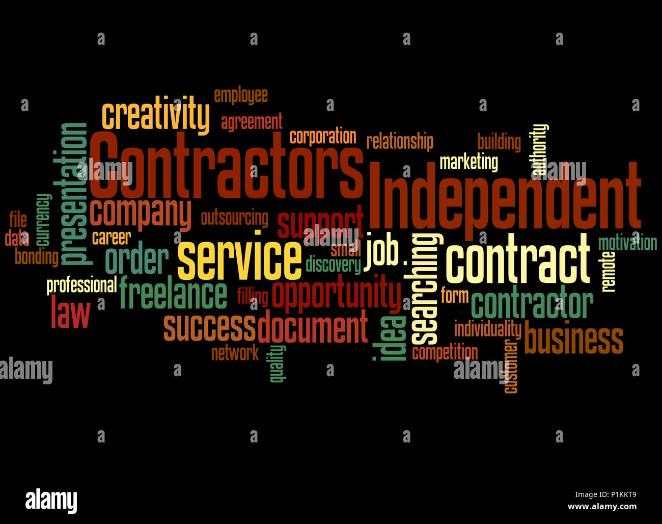 Independent contractors, word cloud concept on black
