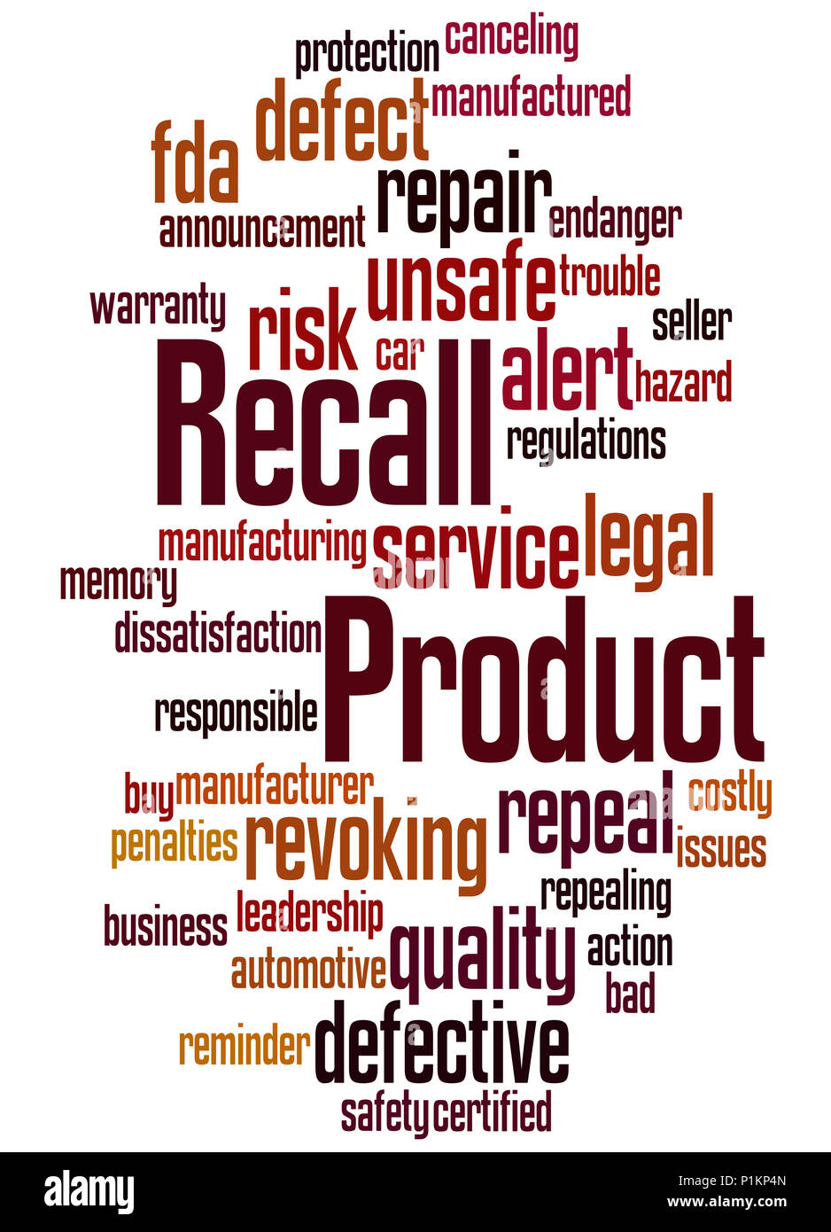 Product Recall Word Cloud Concept On White Background Stock Photo