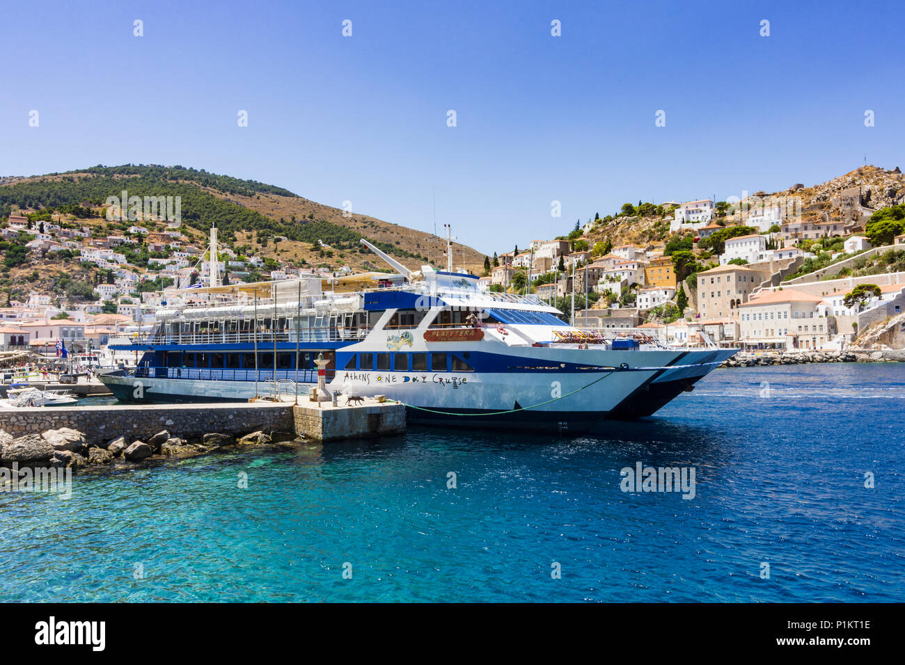 Athens One Day Cruise ferry boat moored at Hydra harbour, Hydra Island Greece - Stock Image