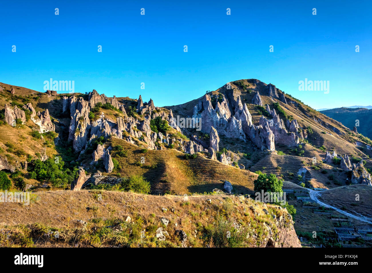 Old Goris town, Armenia with the unique stone formations Stock Photo
