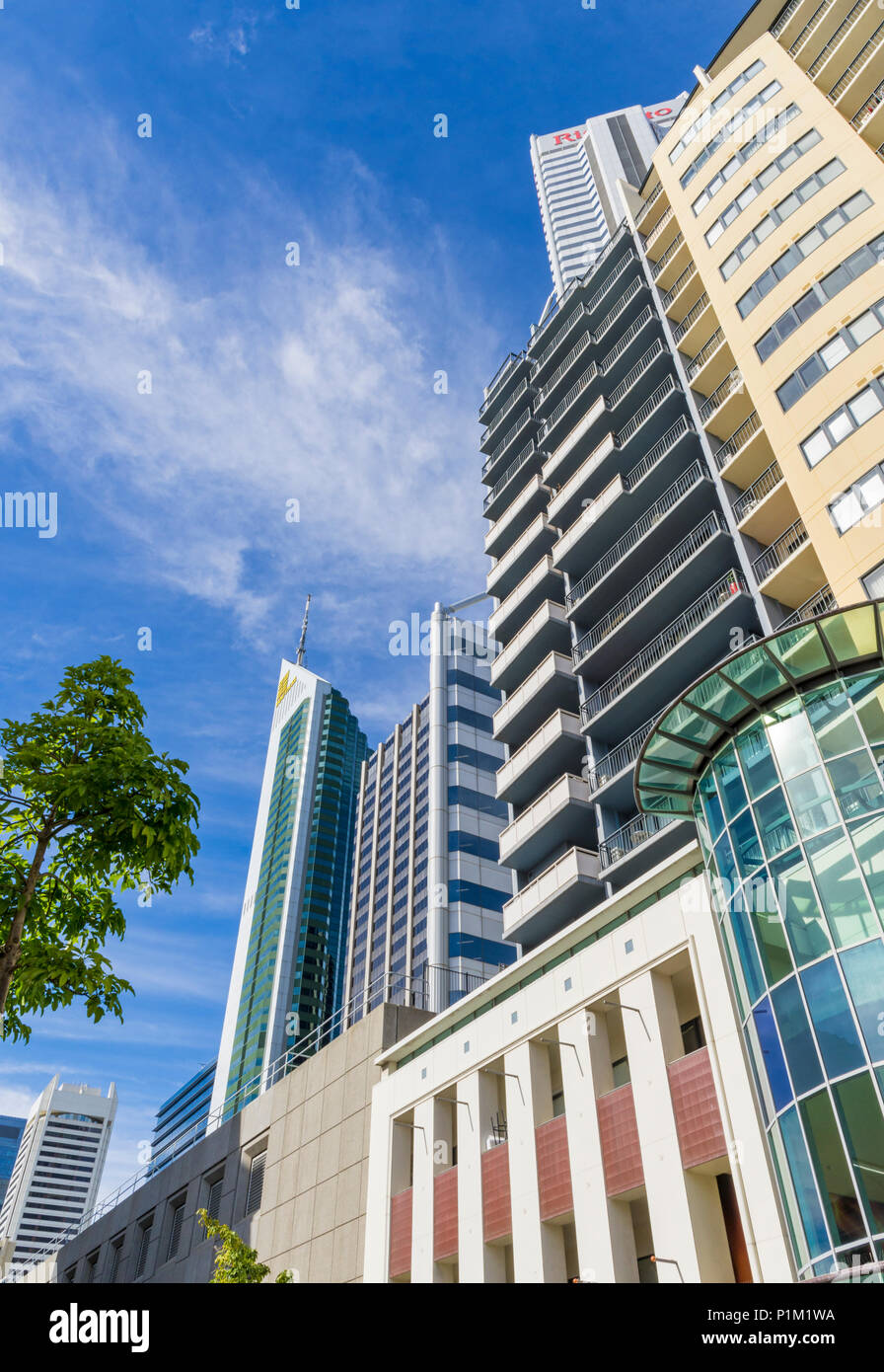 Looking up at the skyscrapers of Perth's CBD, Perth City, Western Australia, Australia - Stock Image