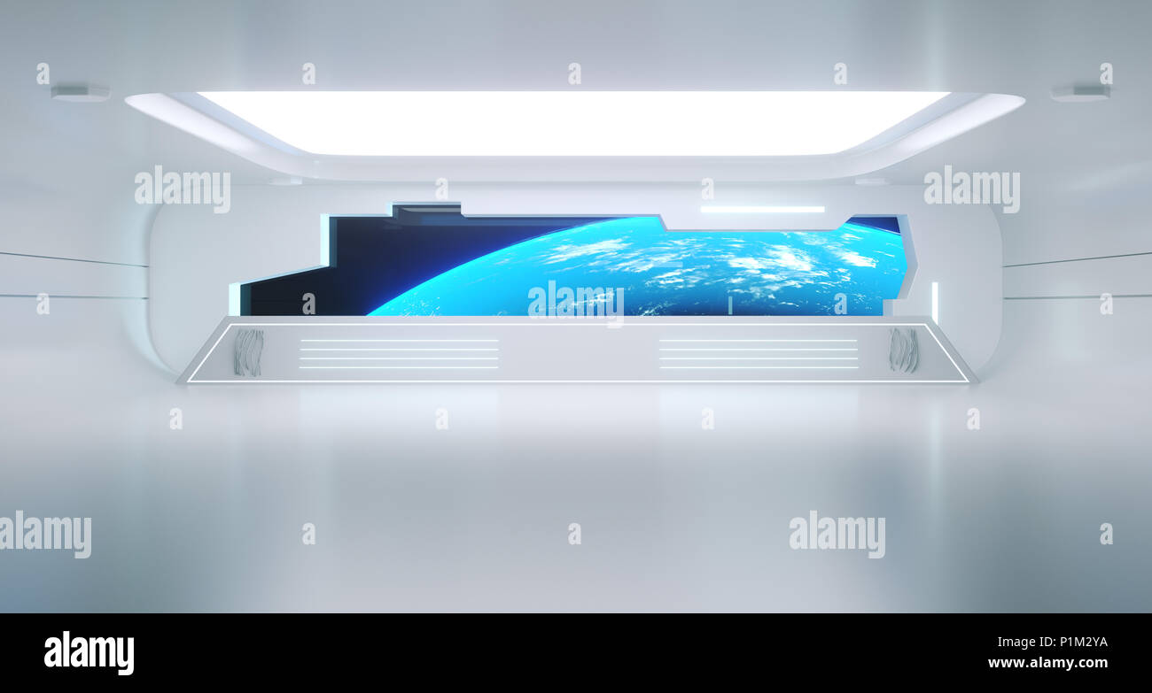 Bright Clean Futuristic Sci-Fi Space Ship Room With Earth View.3d Rendering. Stock Photo