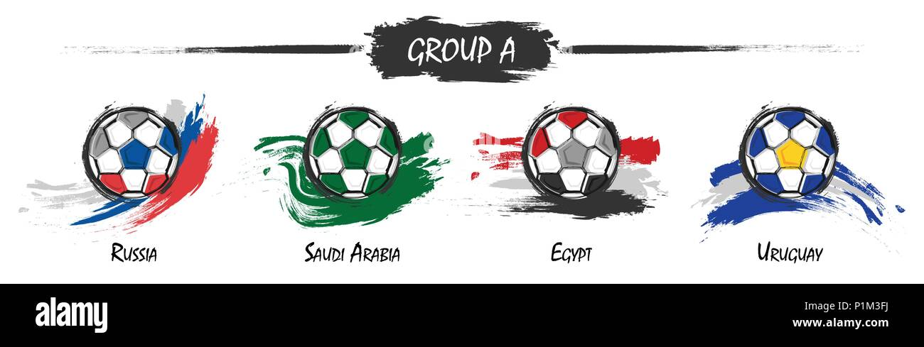 Set of football or soccer national team group A . Watercolor paint art  design . Vector for international world championship tournament cup 2018 . ab5bc3a41