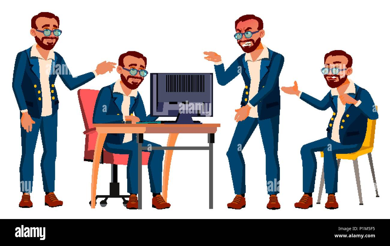 Office Worker Vector. Emotions, Gestures. Turkish. Turk. Poses. Business Human. Smiling Manager, Servant, Workman, Officer. Flat Character Illustration - Stock Image