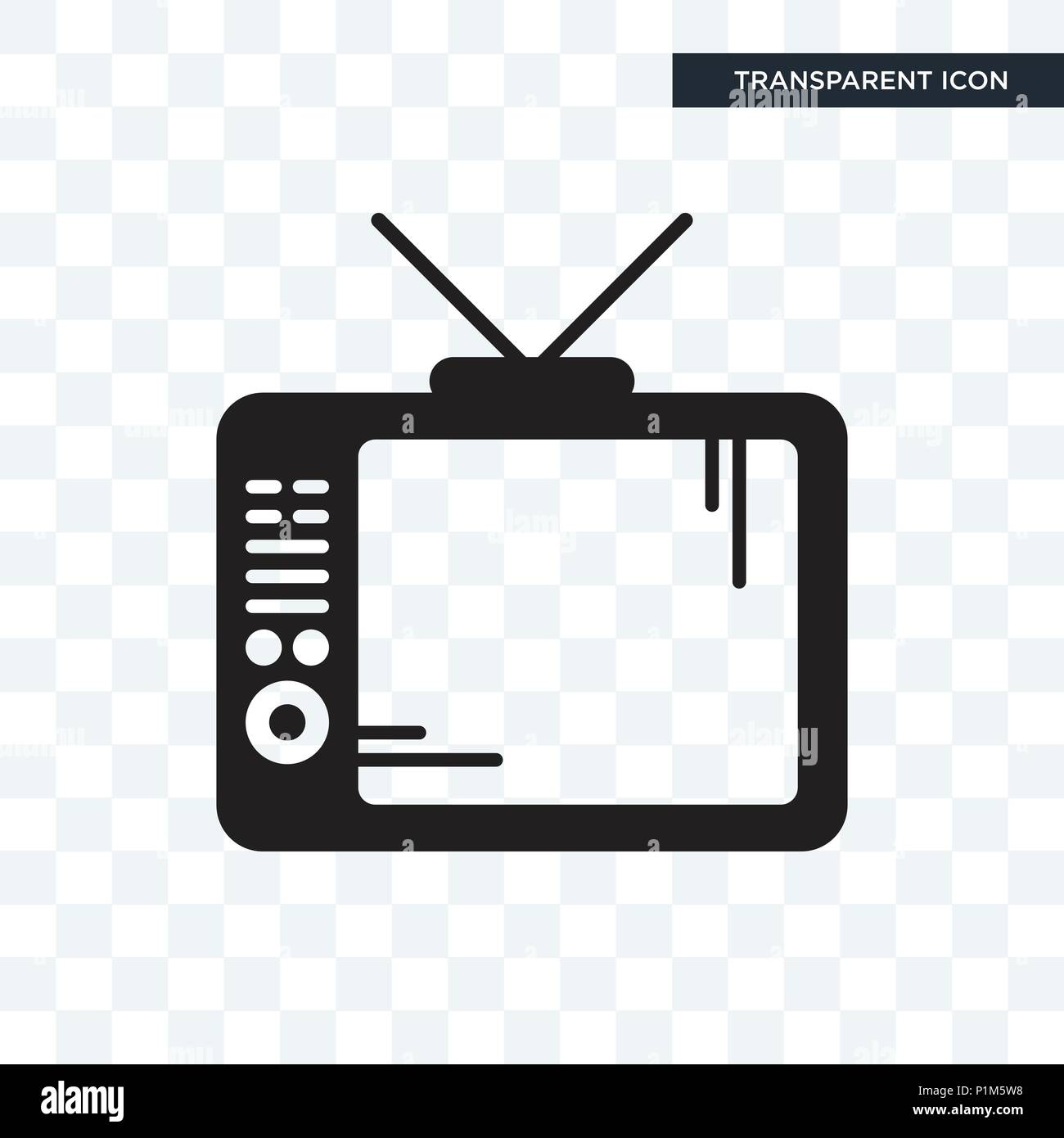 Television vector icon isolated on transparent background, Television logo concept - Stock Image