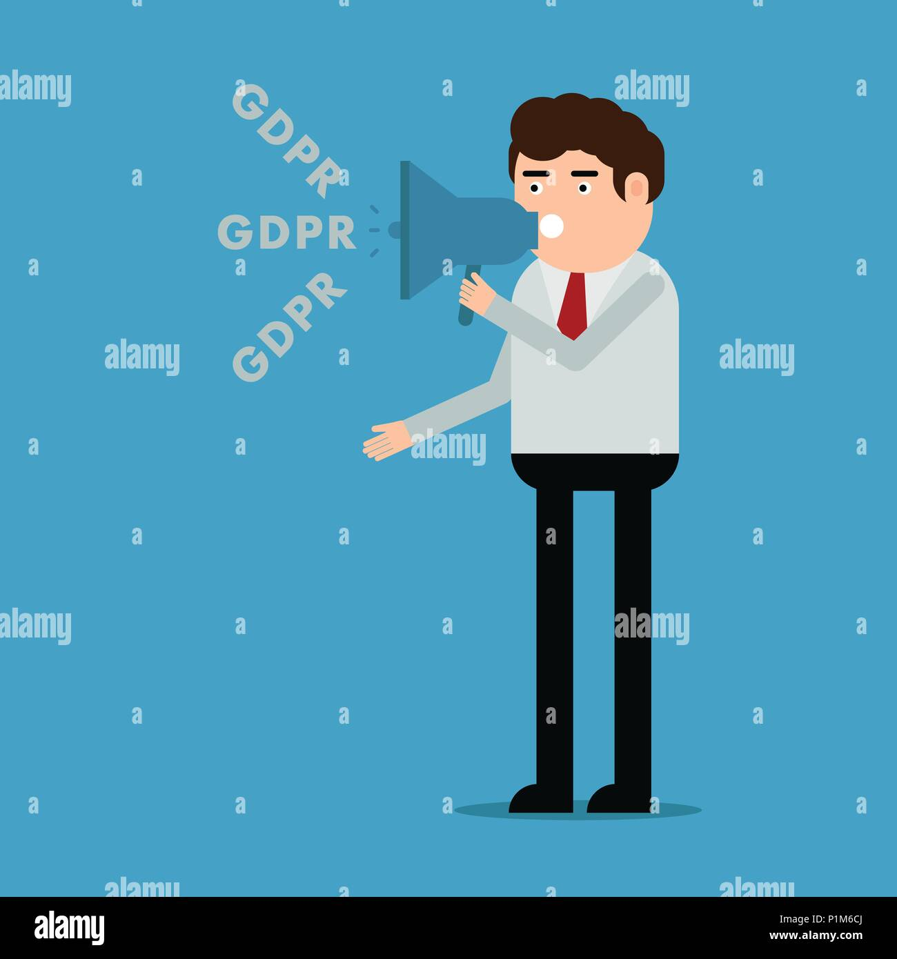 The man talks about the GDPR, vector illustration on a blue background Stock Vector