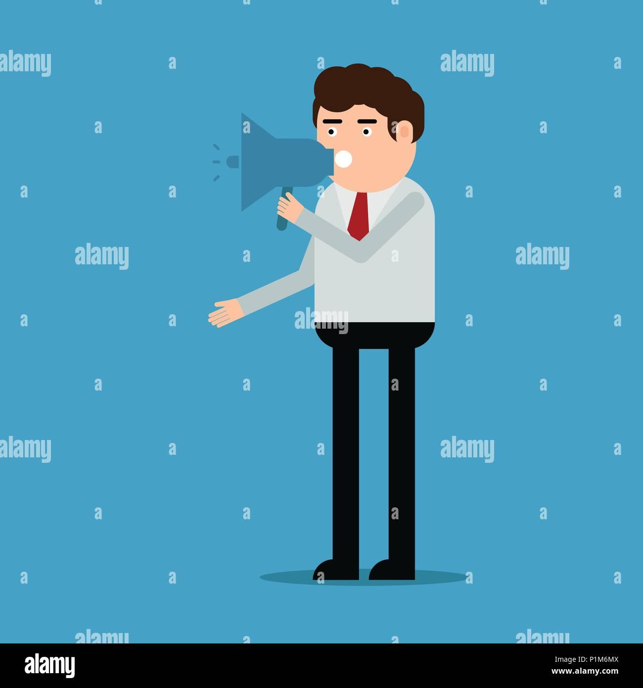 The man speaks in the loudspeaker, vector illustration on a blue background Stock Vector