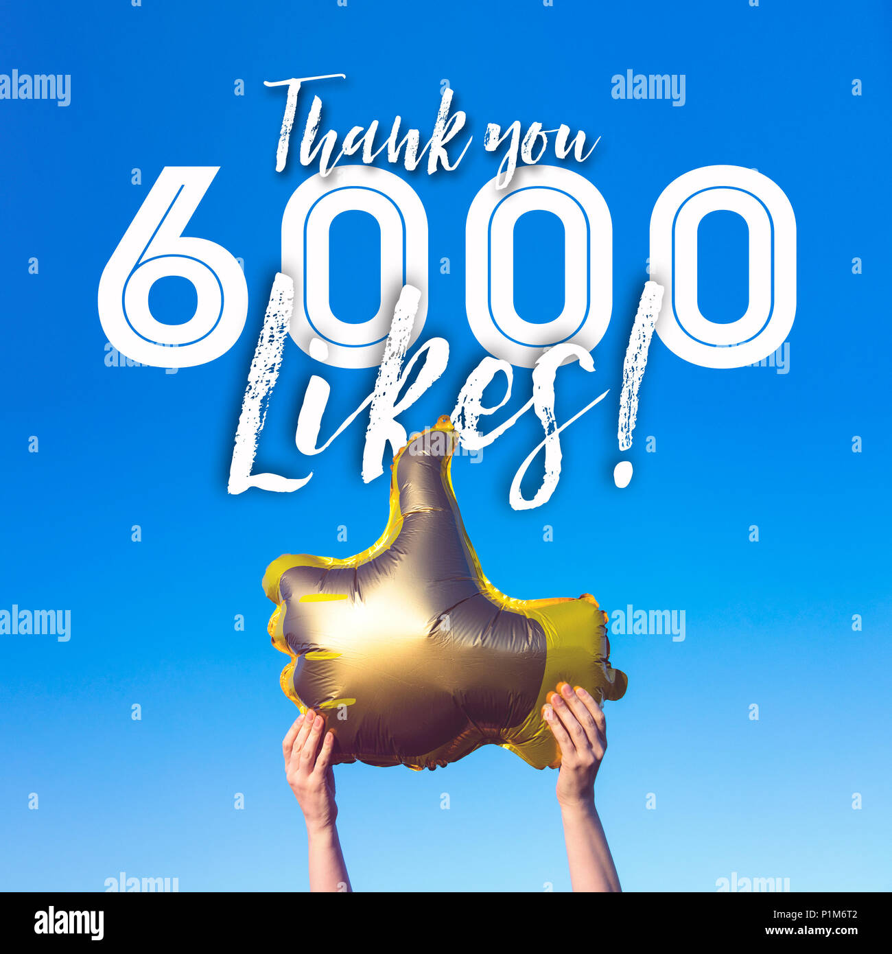 Thank you 6000 likes gold thumbs up like balloons social media template banner - Stock Image
