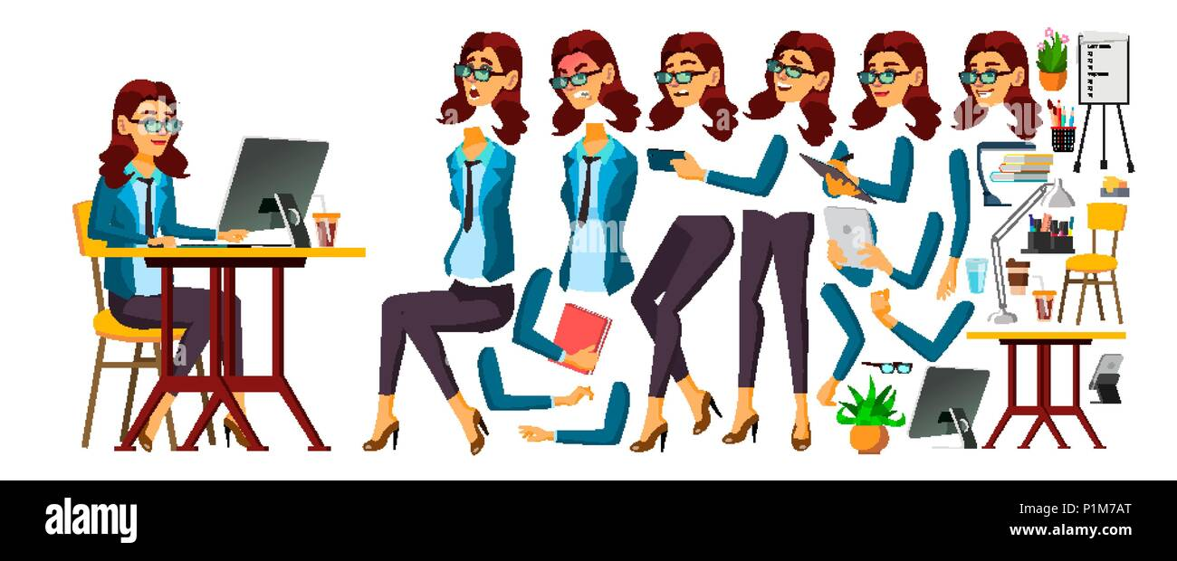 Office Worker Vector. Woman. Face Emotions, Various Gestures. Secretary, Accountant. Animation Creation Set. Isolated Cartoon Character Illustration - Stock Image