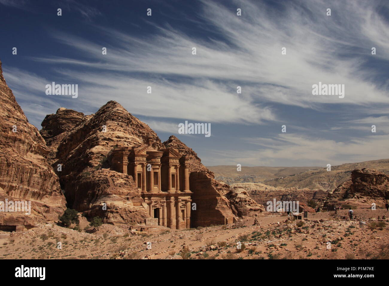 Petra, Ad Deir, The Monastery and horsetail cloud formation - Stock Image