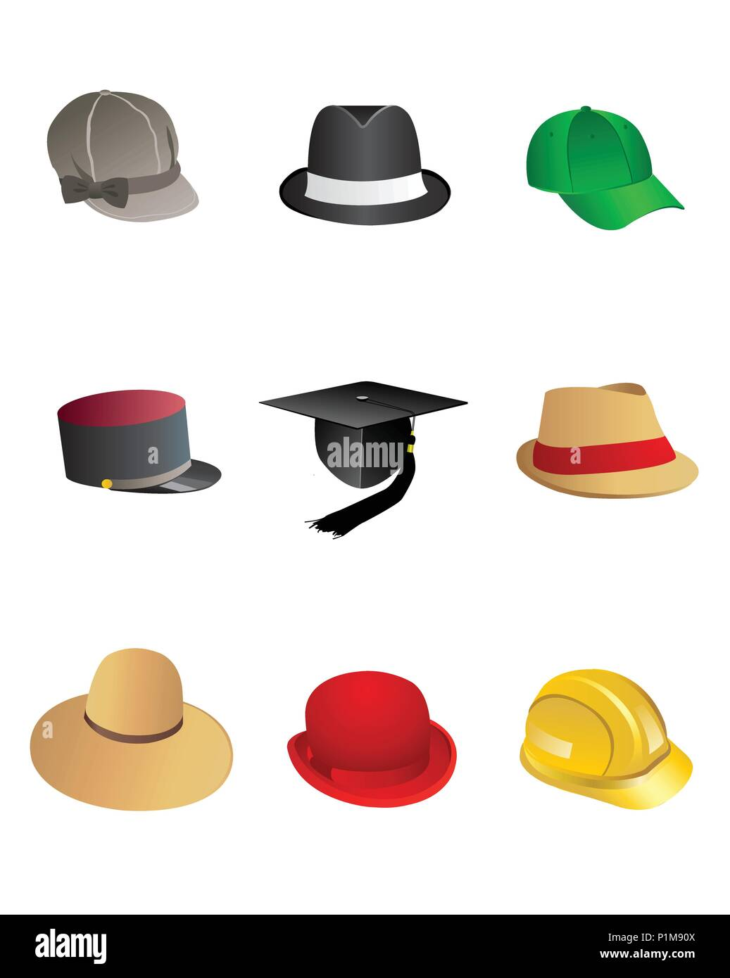 2d9f9323bf0f6 Vector illustration of hand drawn set of sketch colorful hats - Stock Vector