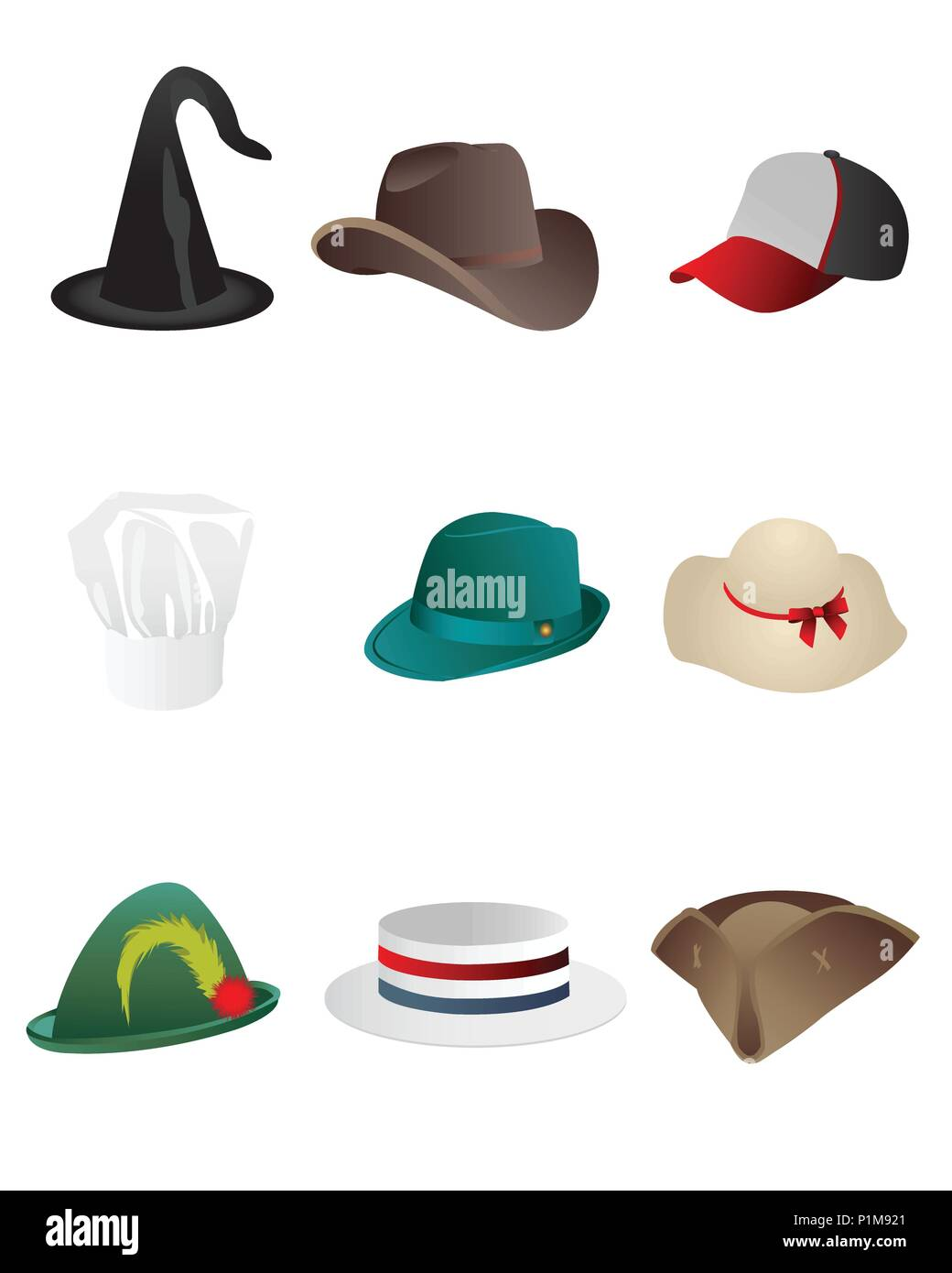 e8558881 Vector illustration of hand drawn set of sketch colorful hats Stock ...