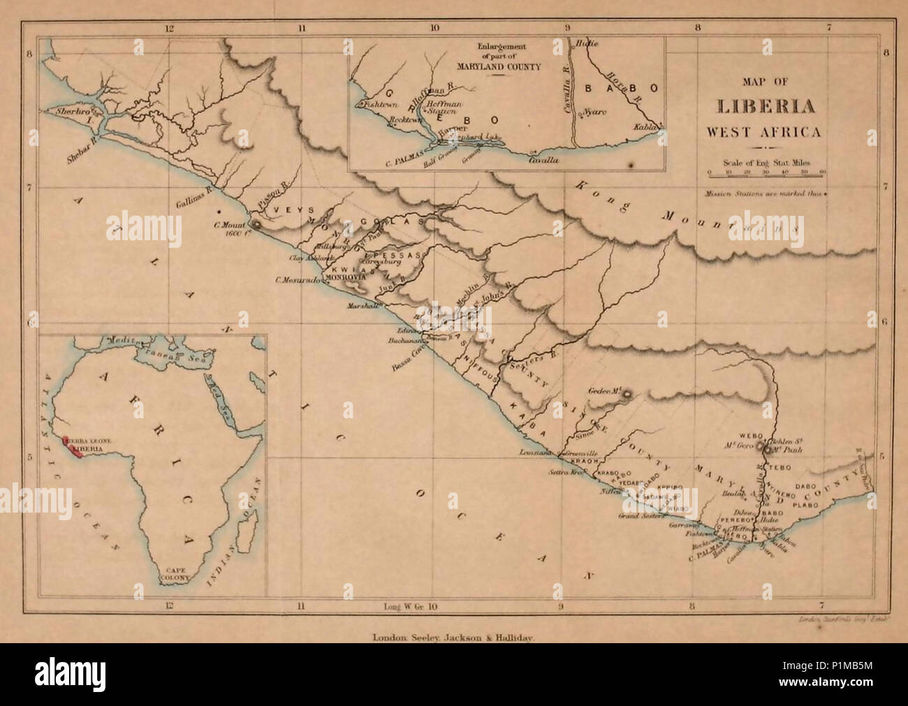 Liberia On Africa Map.1868 Map Of Liberia West Africa Stock Photo 207586896 Alamy