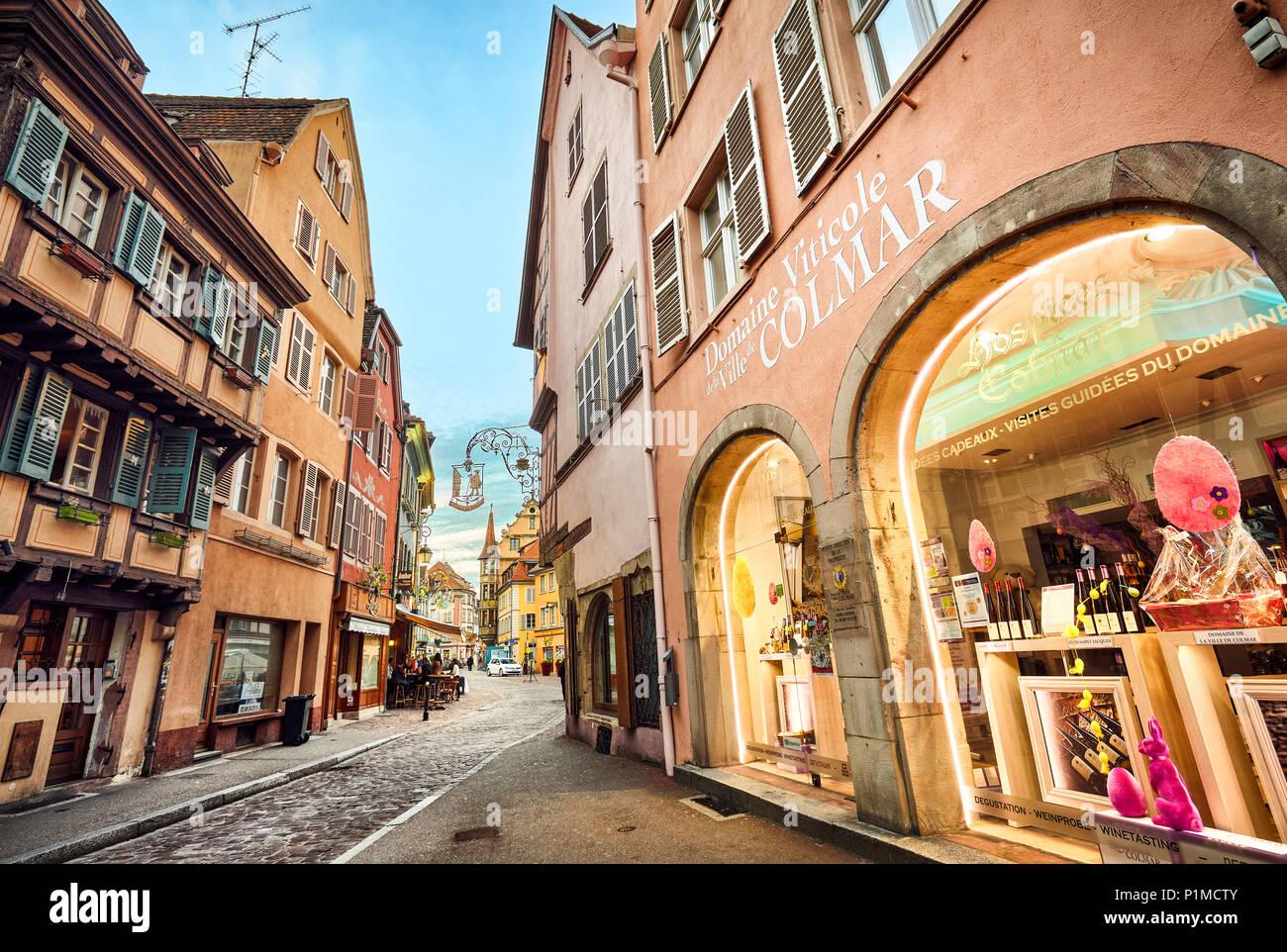 Wine shop at Colmar city center. Alsace. Grand Est. France Stock Photo