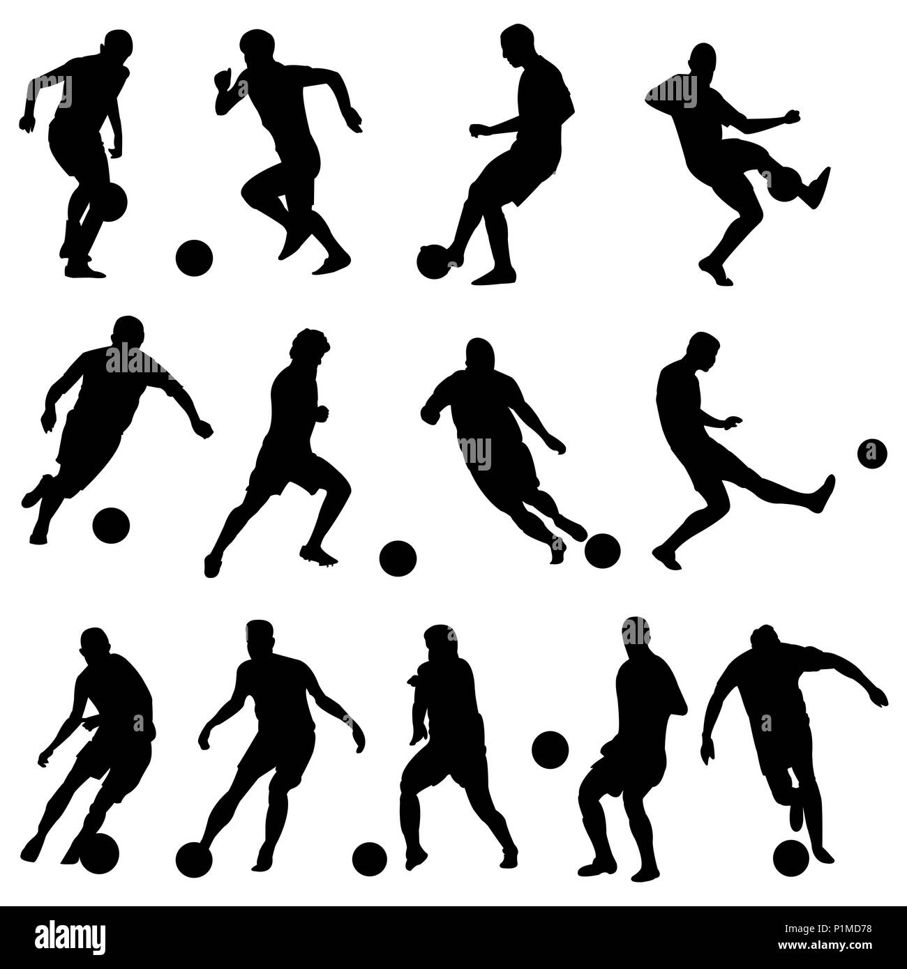 Silhouettes of football players - Stock Vector