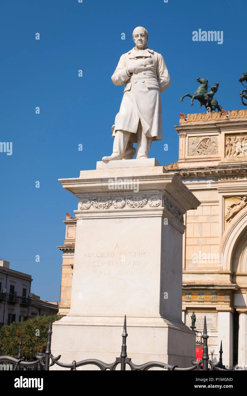 Italy Sicily Palermo Piazza & statue sculpture stone Ruggero Settimo 1778 - 1863 President politician activist by Teatro Politeama Garibaldi Stock Photo