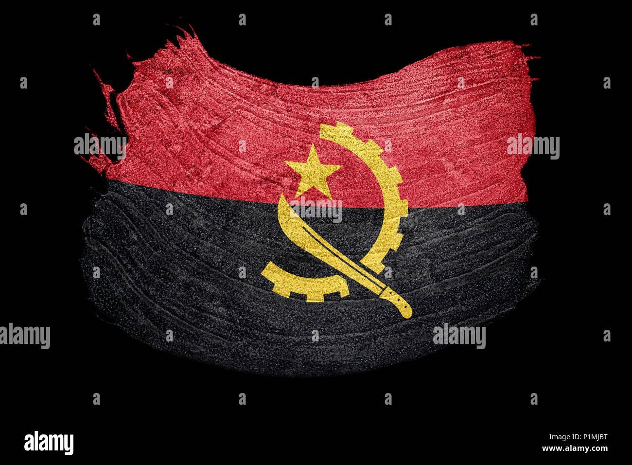 Grunge Angola flag. Angola flag with grunge texture. Brush stroke. - Stock Image
