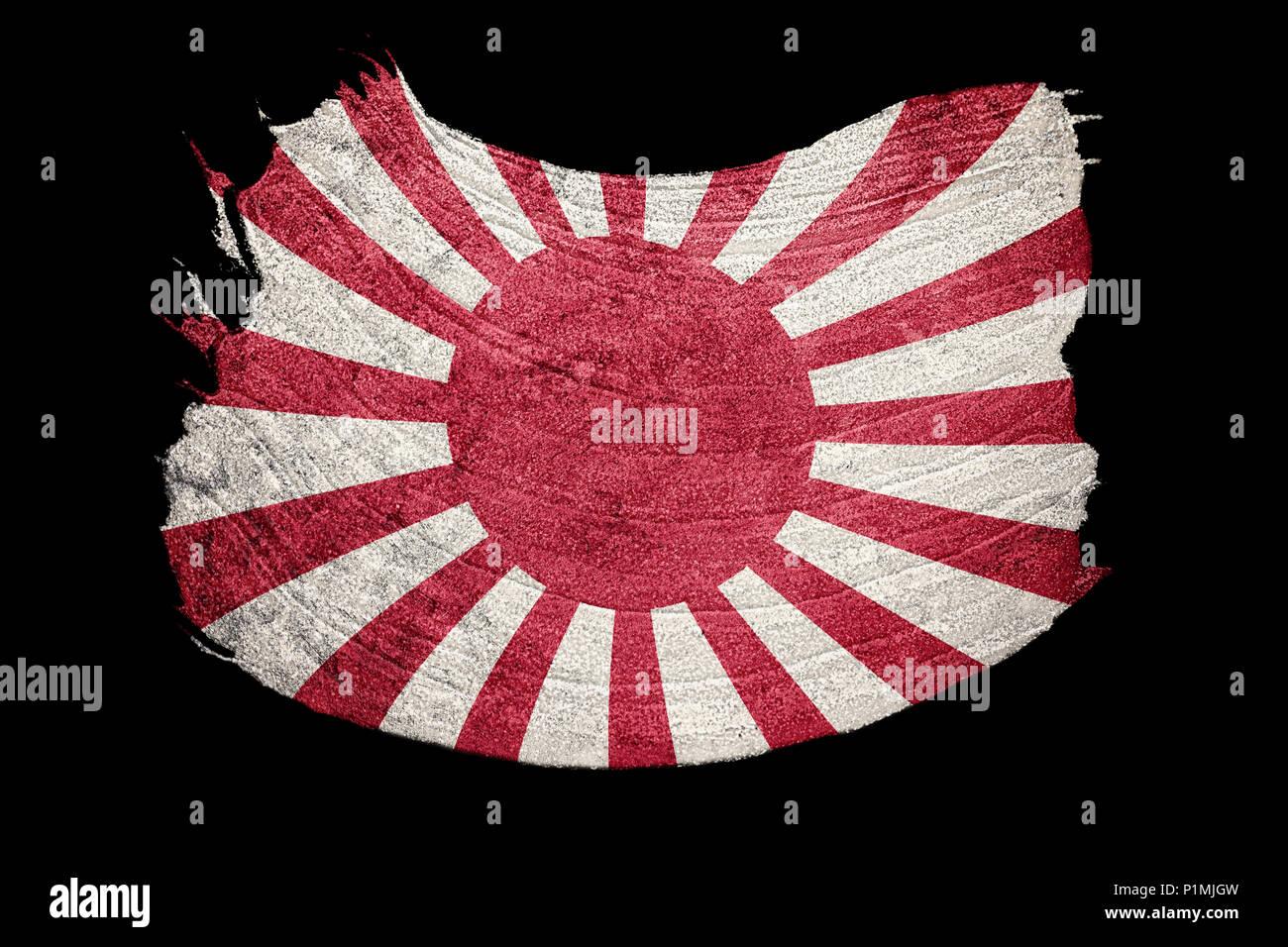 Grunge Rising Sun Japan flag. Japan flag with grunge texture. Brush stroke. - Stock Image